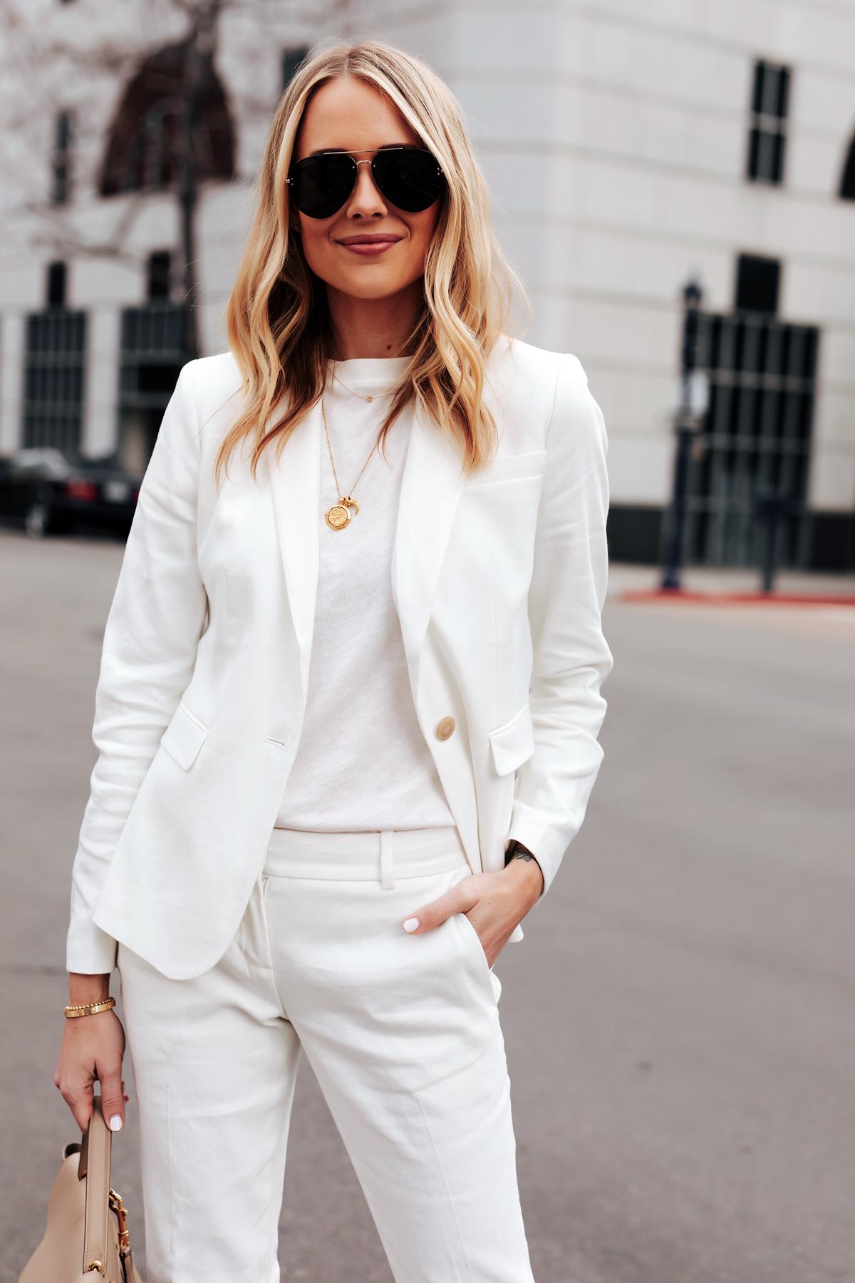 Fashion Jackson Wearing Ann Taylor White Blazer White Tshirt Ann Taylor White Pants Gold Necklaces