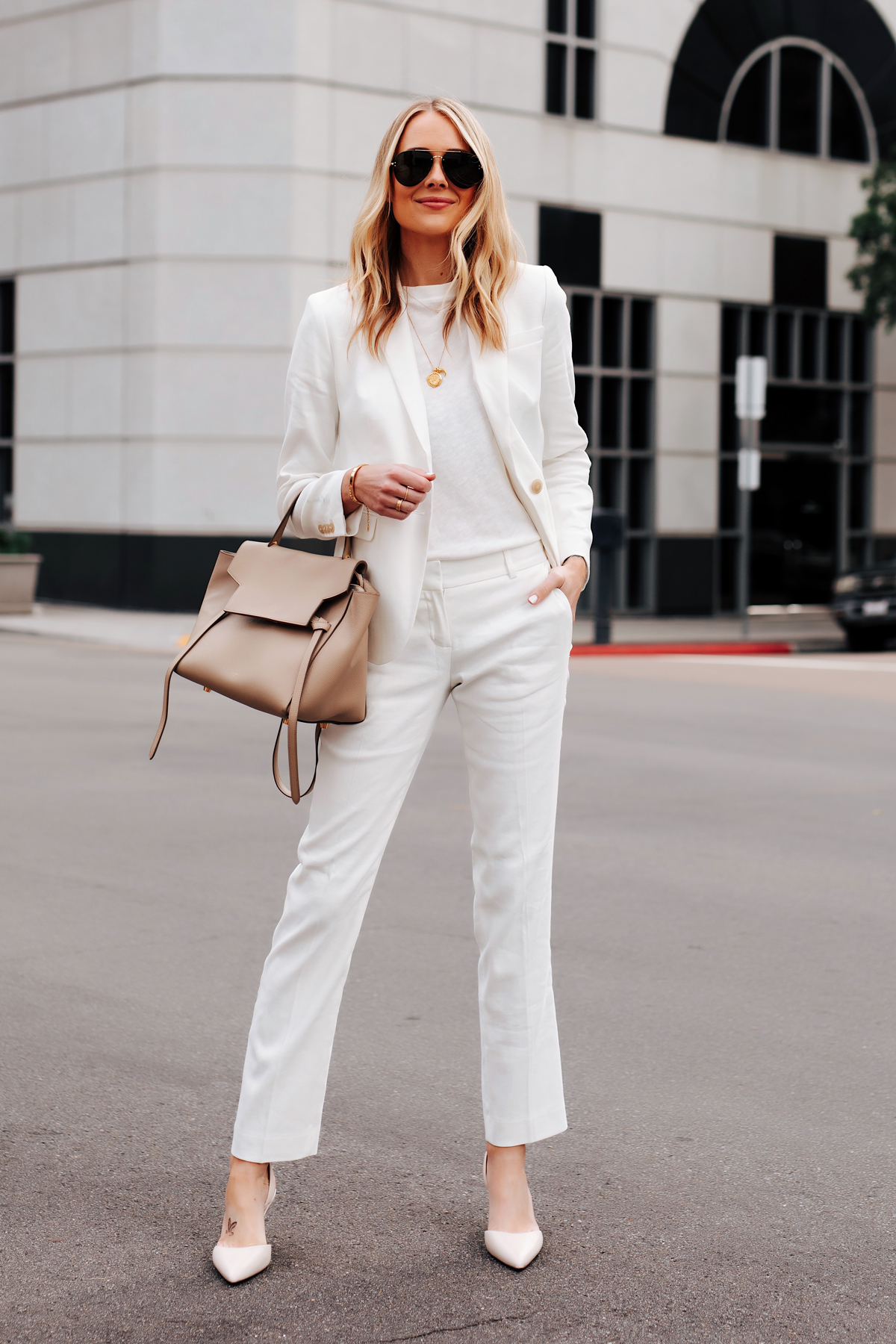 Fashion Jackson Wearing Ann Taylor White Blazer White Tshirt Ann Taylor White Work Pants White Pumps Celine Mini Belt Bag 1