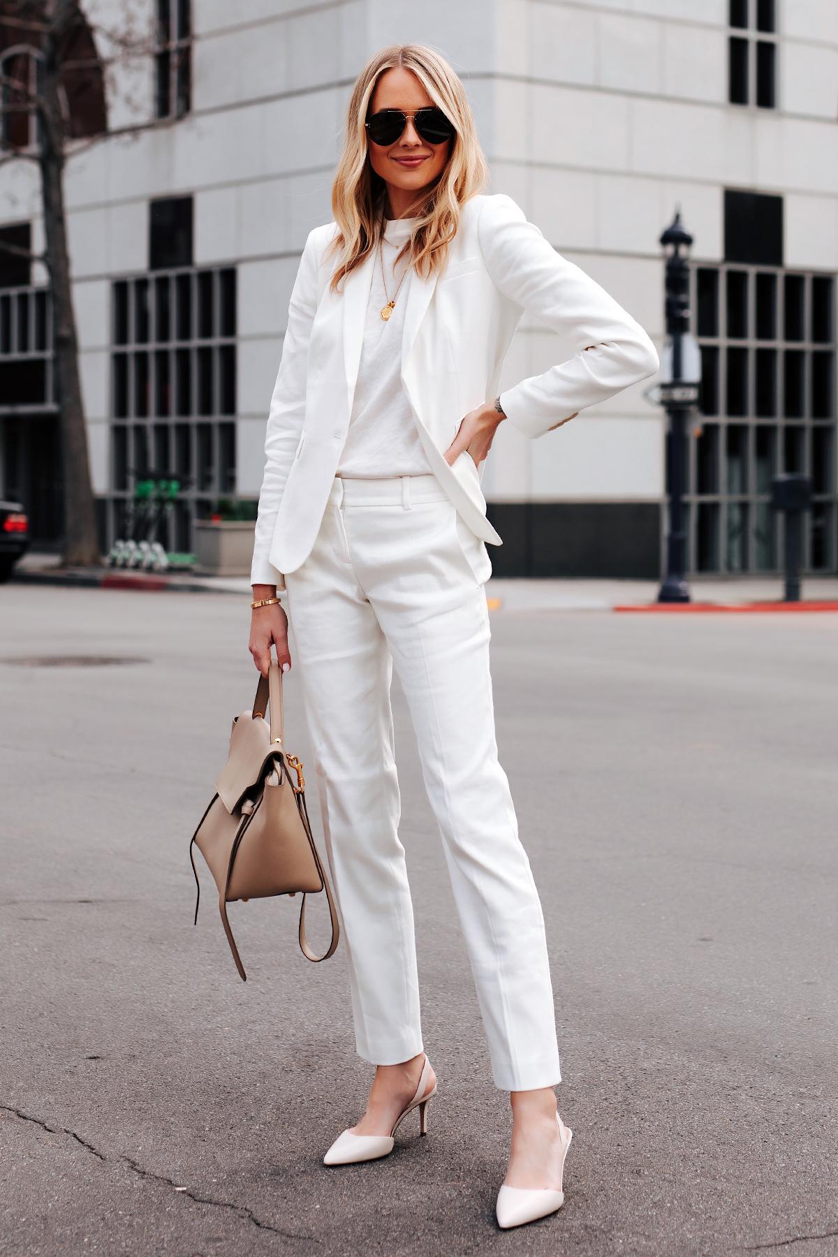 Fashion Jackson Wearing Ann Taylor White Blazer White Tshirt Ann Taylor White Work Pants White Pumps Celine Mini Belt Bag