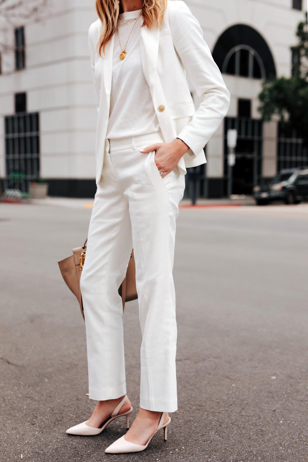 Fashion Jackson Wearing Ann Taylor White Blazer White Tshirt Ann Taylor White Work Pants White Pumps
