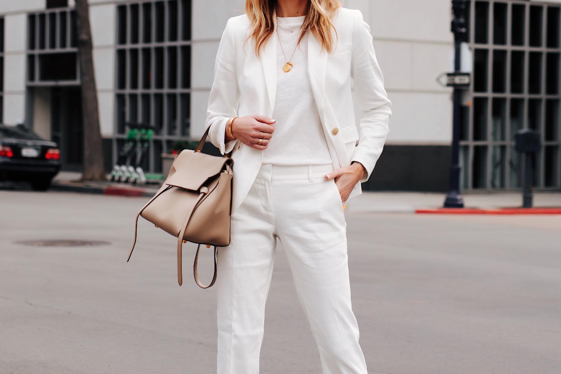 Fashion Jackson Wearing Ann Taylor White Blazer White Tshirt White Pants Gold Necklaces Celine Mini Belt Bag