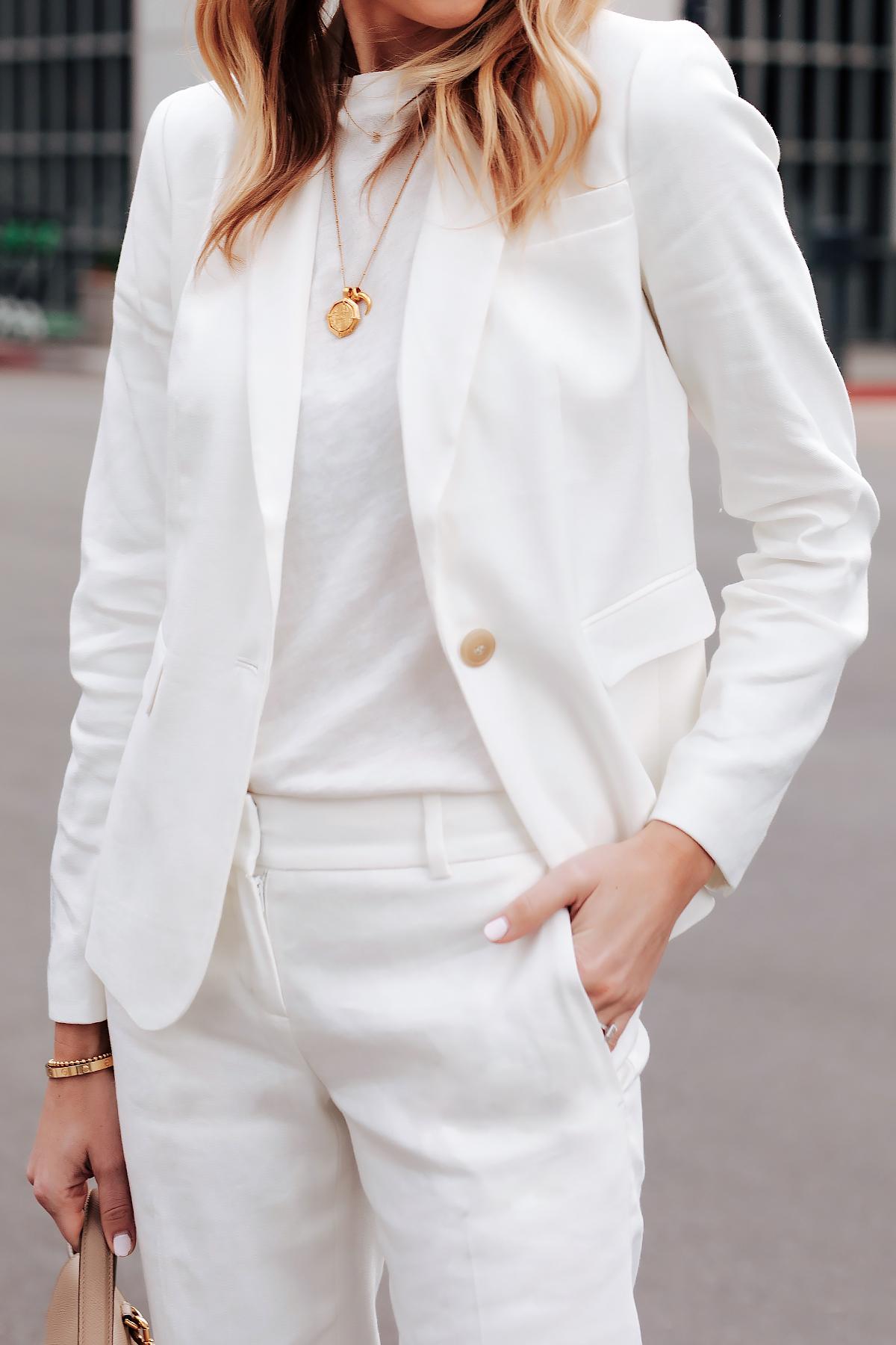 Fashion Jackson Wearing Ann Taylor White Blazer White Tshirt White Pants Gold Necklaces