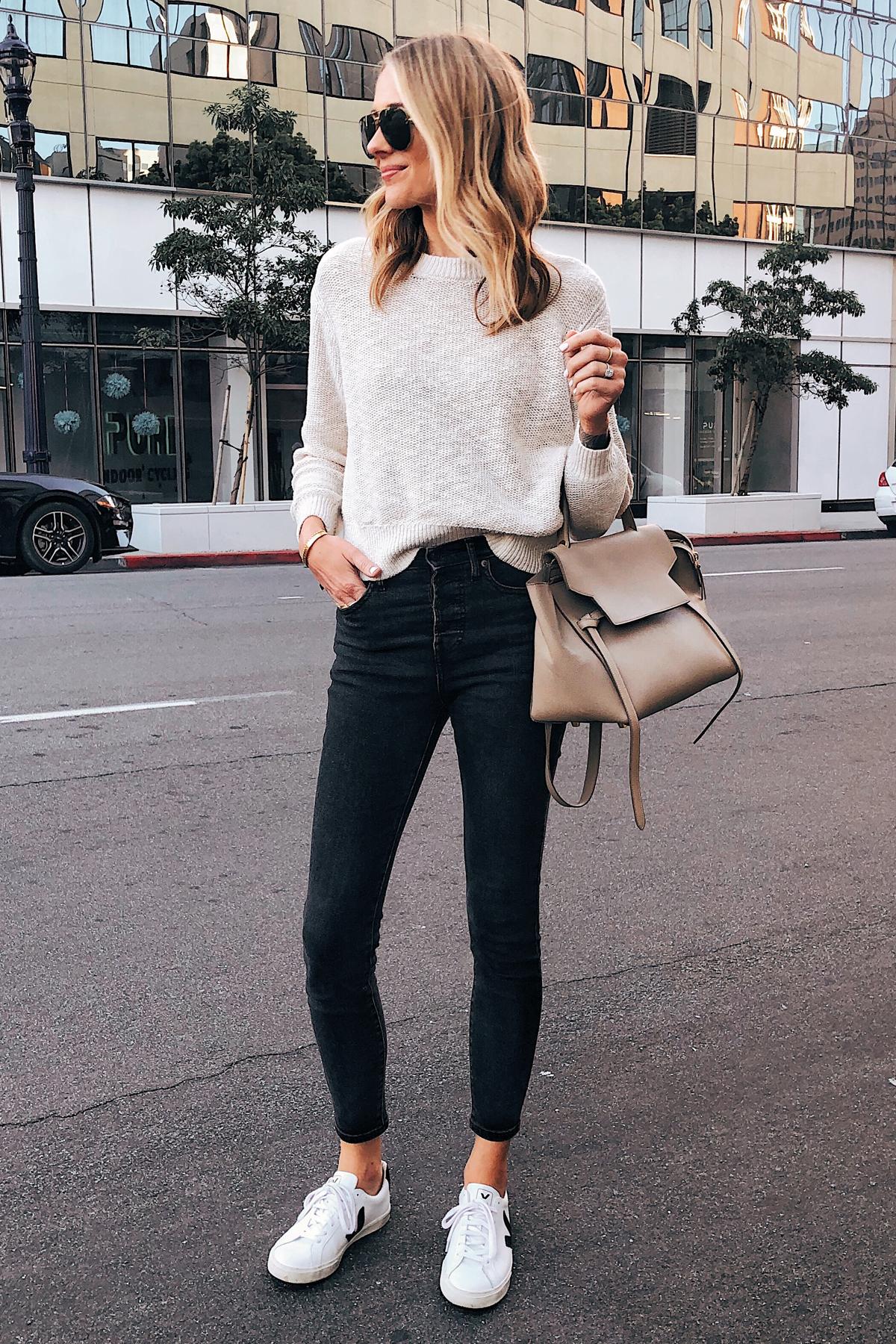 Fashion Jackson Wearing Beige Sweater Black Skinny Jeans Veja Sneakers