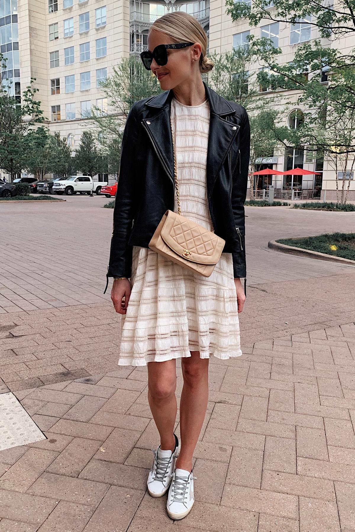 Fashion Jackson Wearing Black Leather Jacket Anine Bing White Dress Chanel Handbag Golden Goose Sneakers