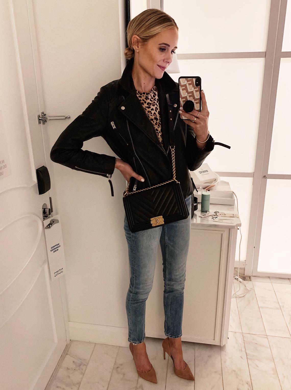 Fashion Jackson Wearing Black Leather Jacket Leopard Top Denim Skinny Jeans Nude Pumps Chanel Black Boy Bag