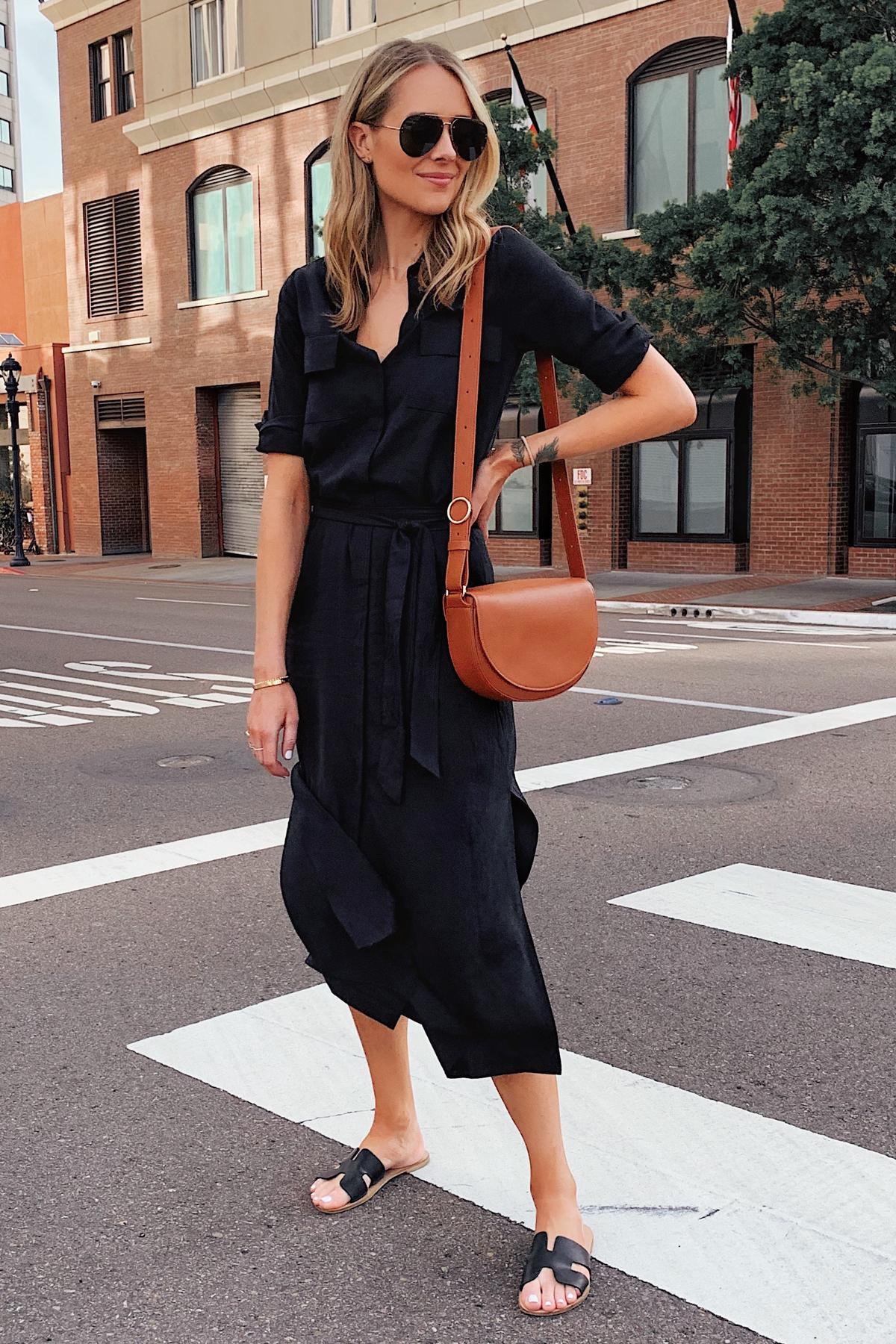 Fashion Jackson Wearing Black Shirt Dress Cuyana Tan Handbag Black Sandals