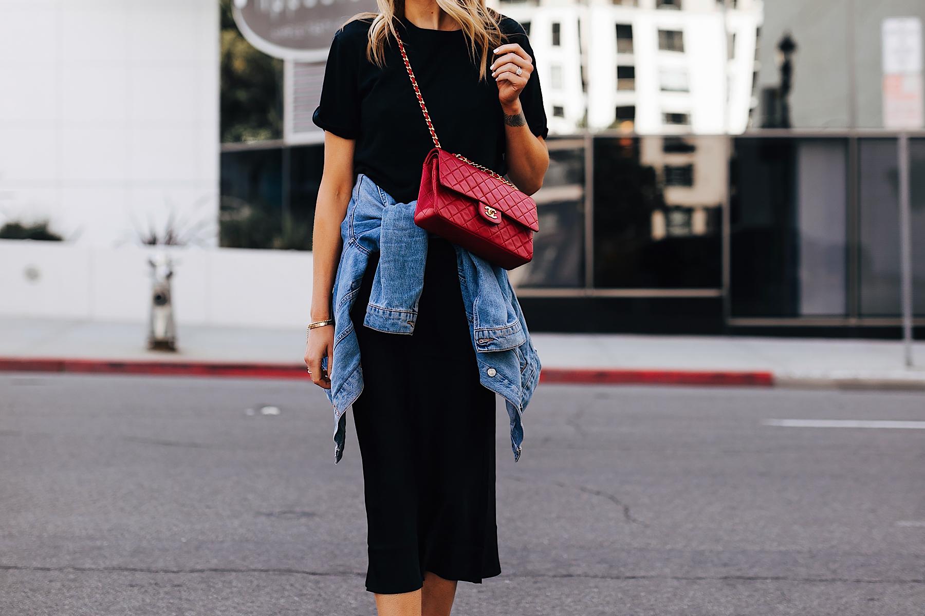Fashion Jackson Wearing Black Tshirt Black Silk Skirt Denim Jacket Outfit Red Chanel Quilted Handbag