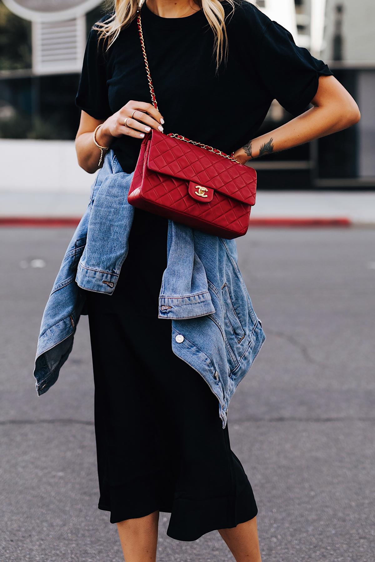 Fashion Jackson Wearing Black Tshirt Black Silk Skirt Denim Jacket Red Chanel Handbag