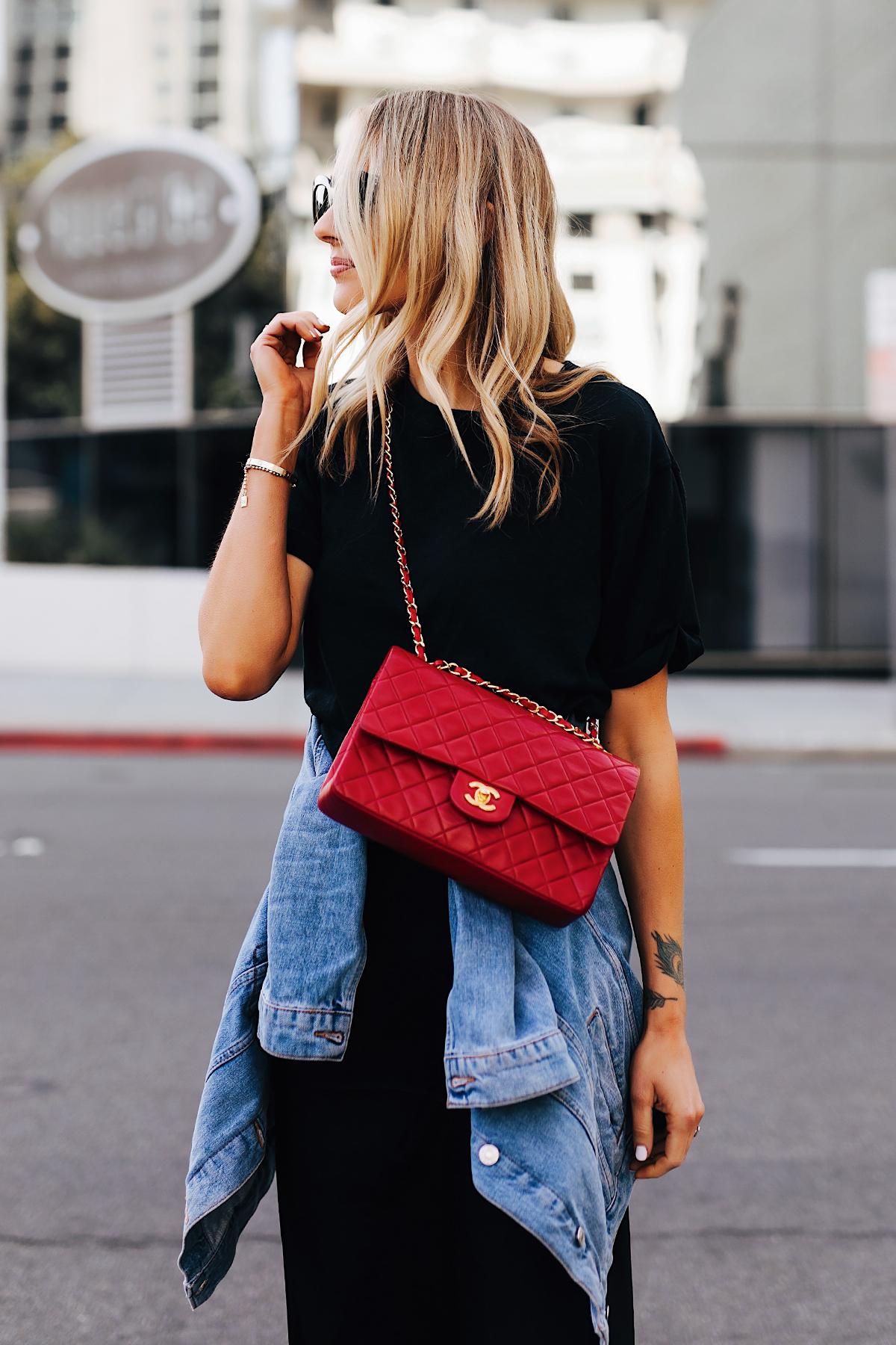 Fashion Jackson Wearing Black Tshirt Denim Jacket Red Chanel Classic Flap Handbag