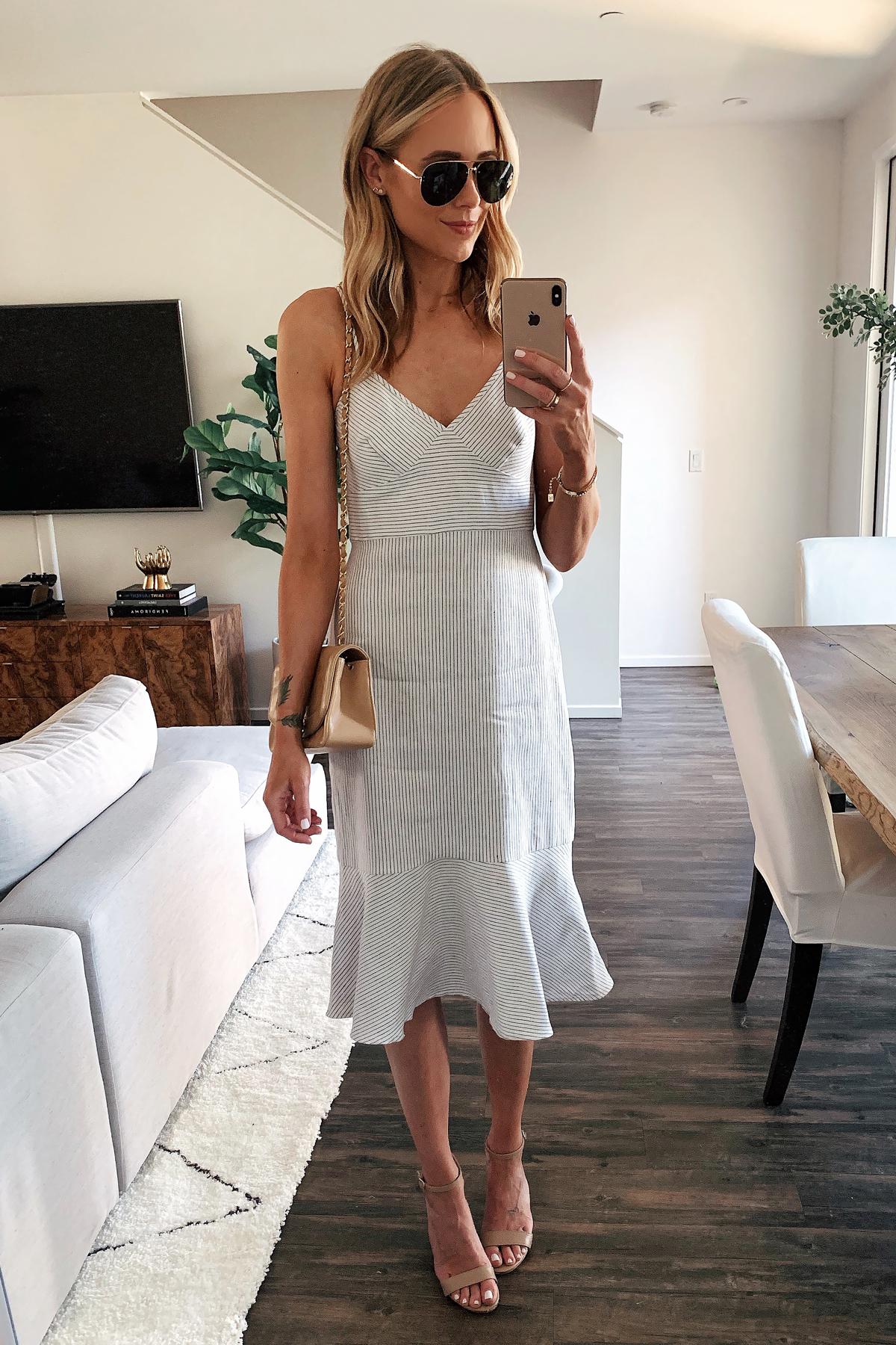 Fashion Jackson Wearing Blue White Stripe Midi Dress