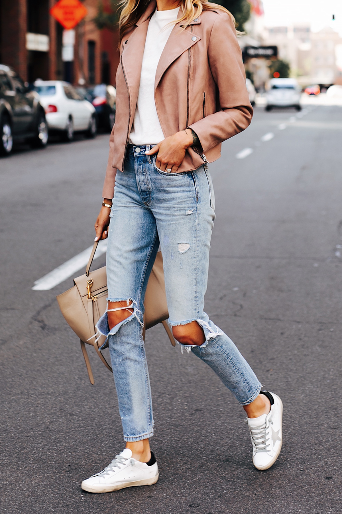 Woman Wearing Blush Faux Leather Jacket Boyish The Billie Jean Easy Rider Golden Goose Sneakers Fashion Jackson San Diego Fashion Blogger Street Style