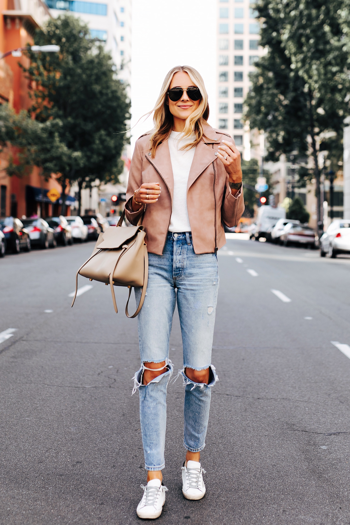 Blonde Woman Wearing Blush Faux Leather Jacket Boyish The Billie Jean Easy Rider Golden Goose Sneakers Celine Mini Belt Bag Fashion Jackson San Diego Fashion Blogger Street Style