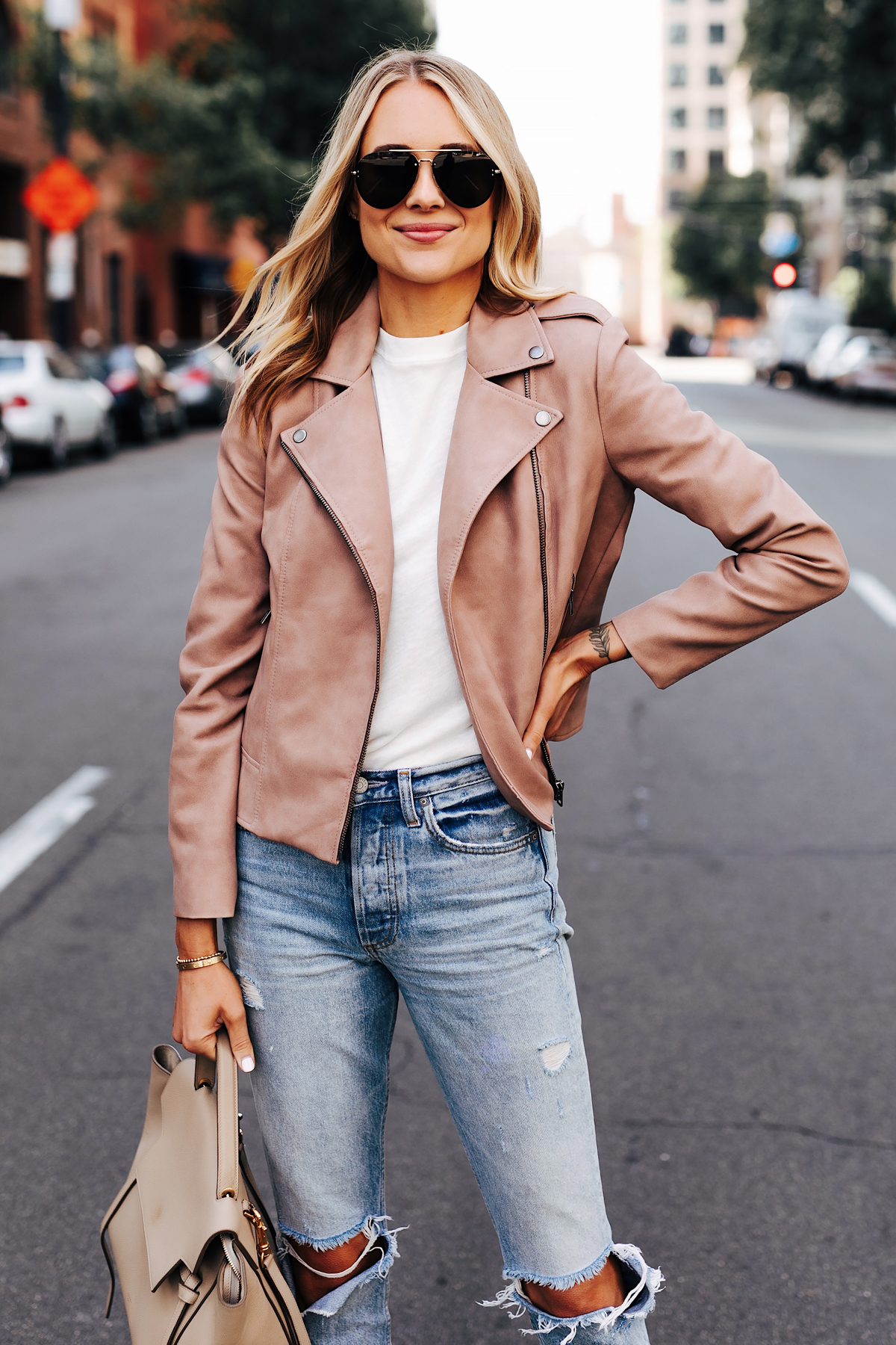 Blonde Woman Wearing Blush Faux Leather Jacket White Tshirt Boyish The Billie Jean Easy Rider Celine Mini Belt Bag Fashion Jackson San Diego Fashion Blogger Street Style