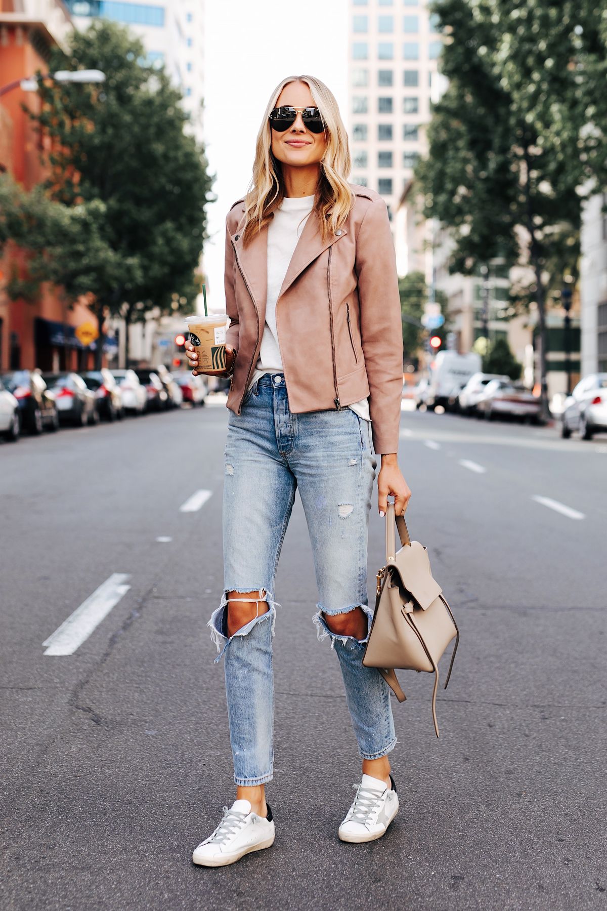 Blonde Woman Wearing Blush Faux Leather Jacket White Tshirt Boyish The Billie Jean Easy Rider Golden Goose Sneakers Celine Mini Belt Bag Fashion Jackson San Diego Fashion Blogger Street Style