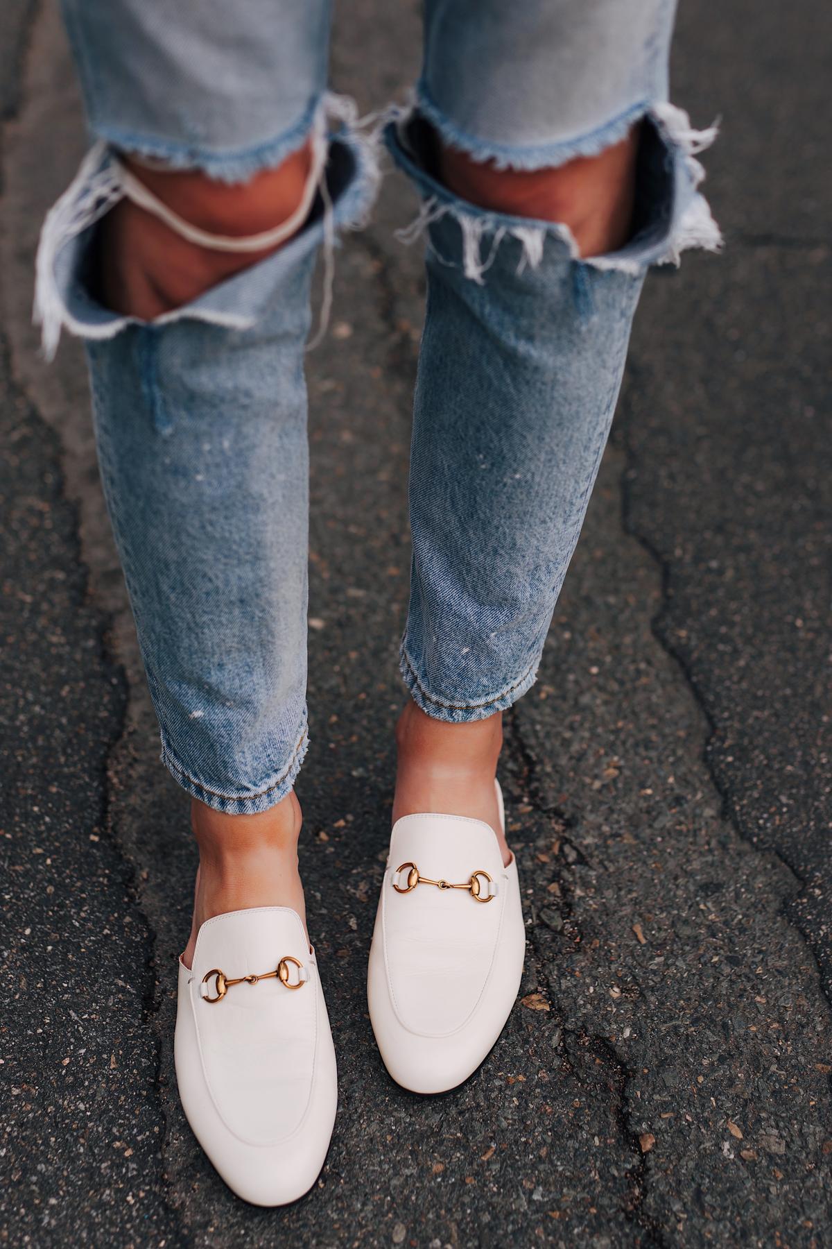 Woman Wearing Boyish Ripped Jeans Gucci Princetown White Mules Fashion Jackson San Diego Fashion Blogger Street Style