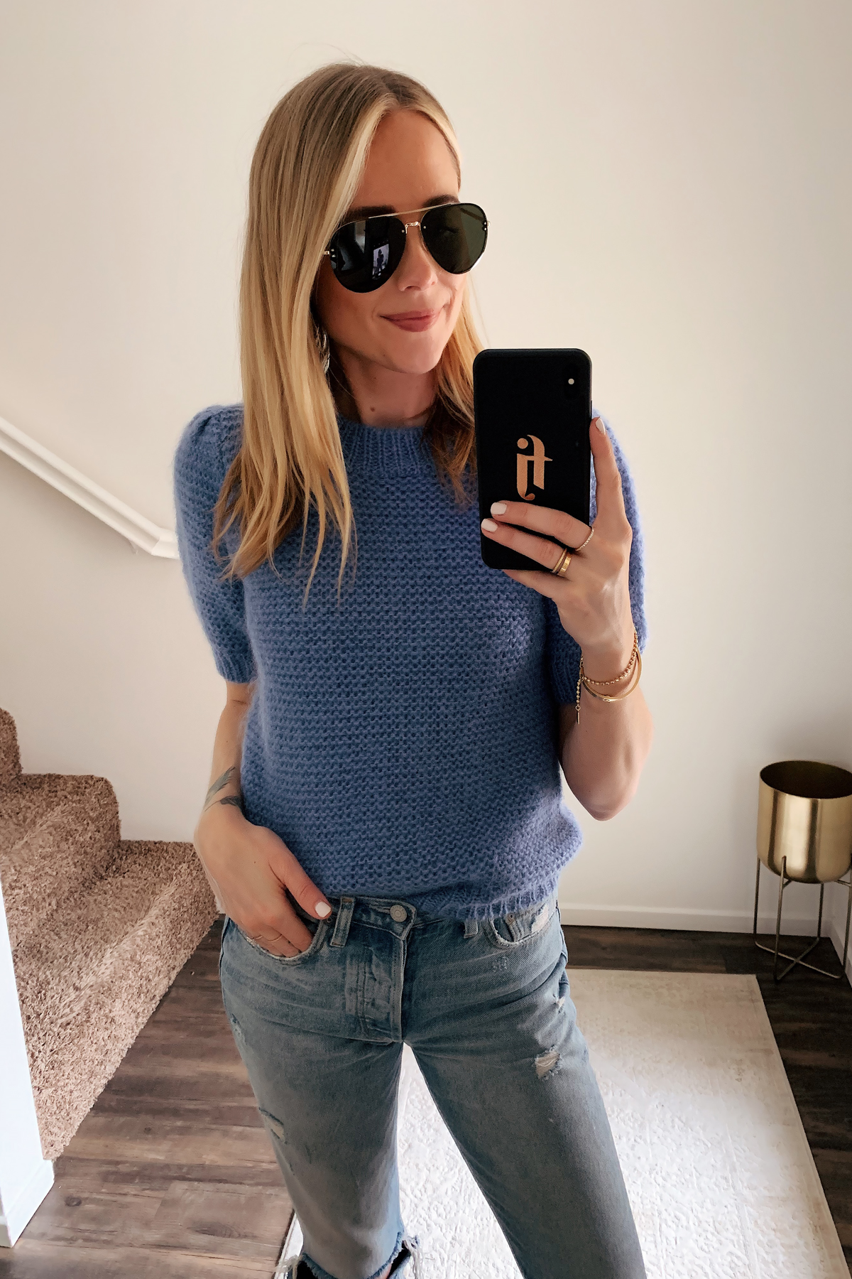 Fashion Jackson Wearing Celine Aviator Sunglasses Anine Bing Blue Sweater Ripped Jeans