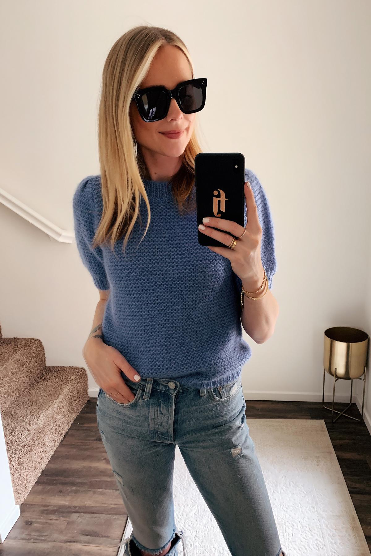 Fashion Jackson Wearing Celine Tilda Black Sunglasses Anine Bing Blue Sweater Ripped Jeans