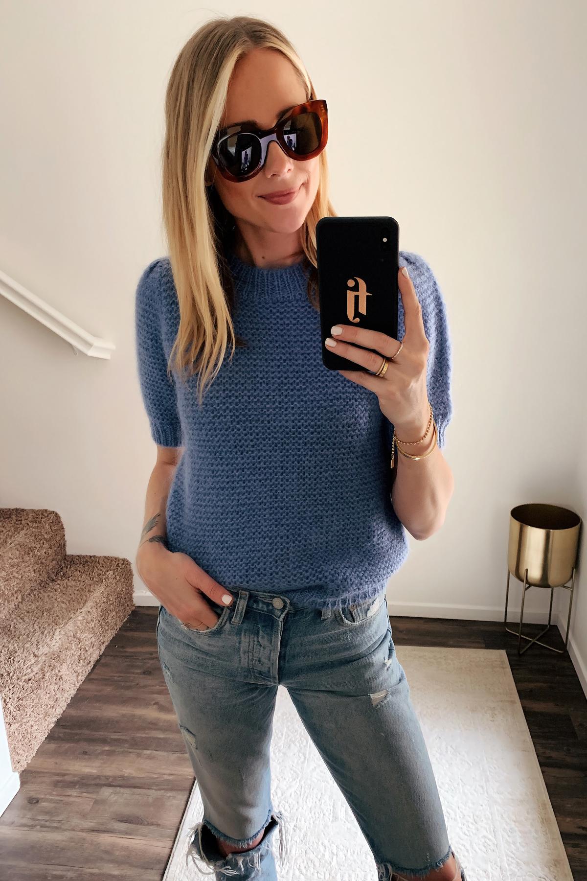Fashion Jackson Wearing Celine Tortoise Cat Eye Sunglasses Anine Bing Blue Sweater Ripped Jeans