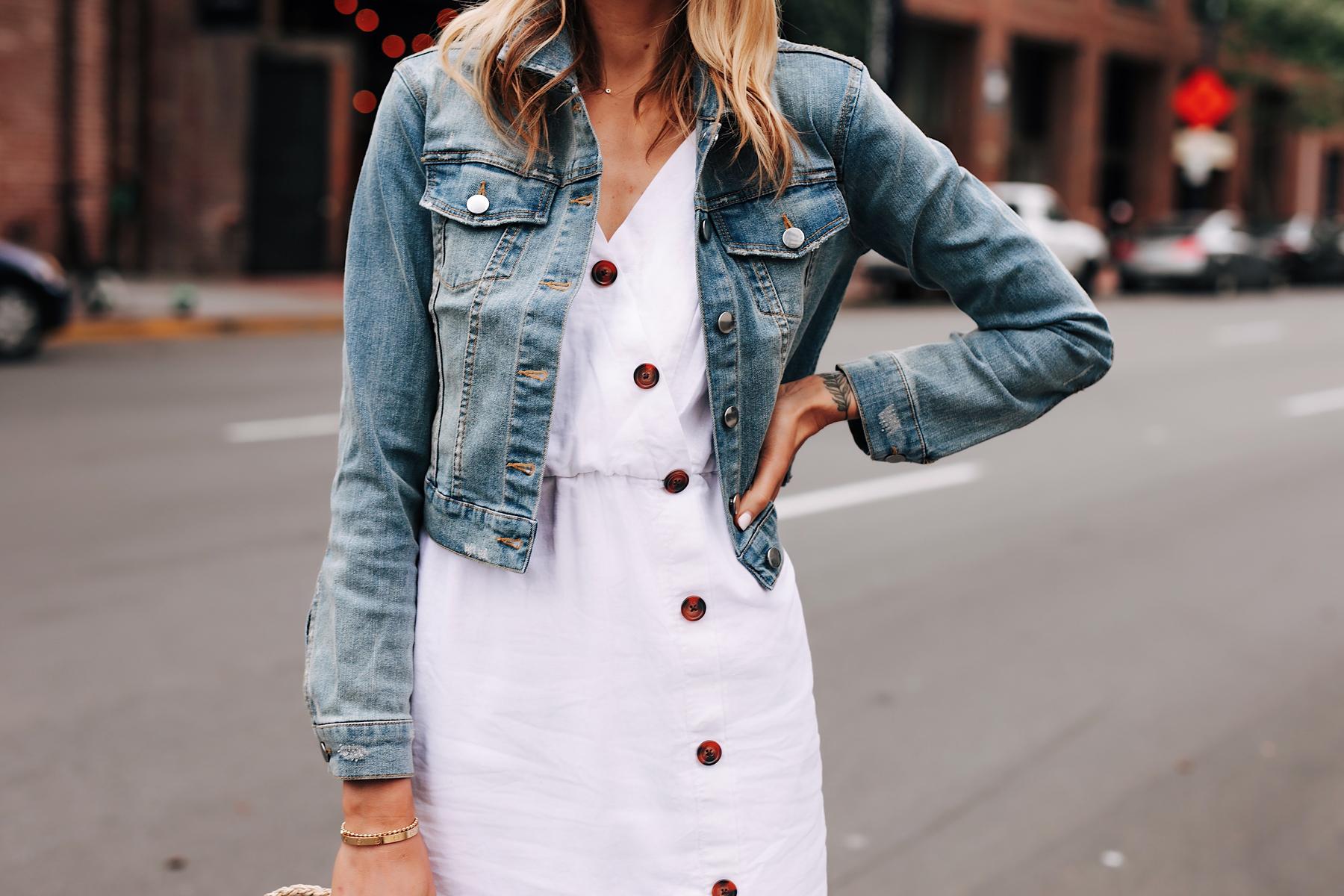 Blonde Woman Wearing Denim Jacket White Button Dress Fashion Jackson San Diego Fashion Blogger Street Style