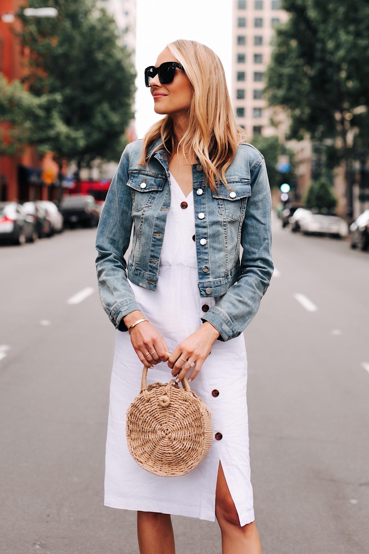 Blonde Woman Wearing Denim Jacket White Midi Dress Straw Circle Handbag Fashion Jackson San Diego Fashion Blogger Street Style
