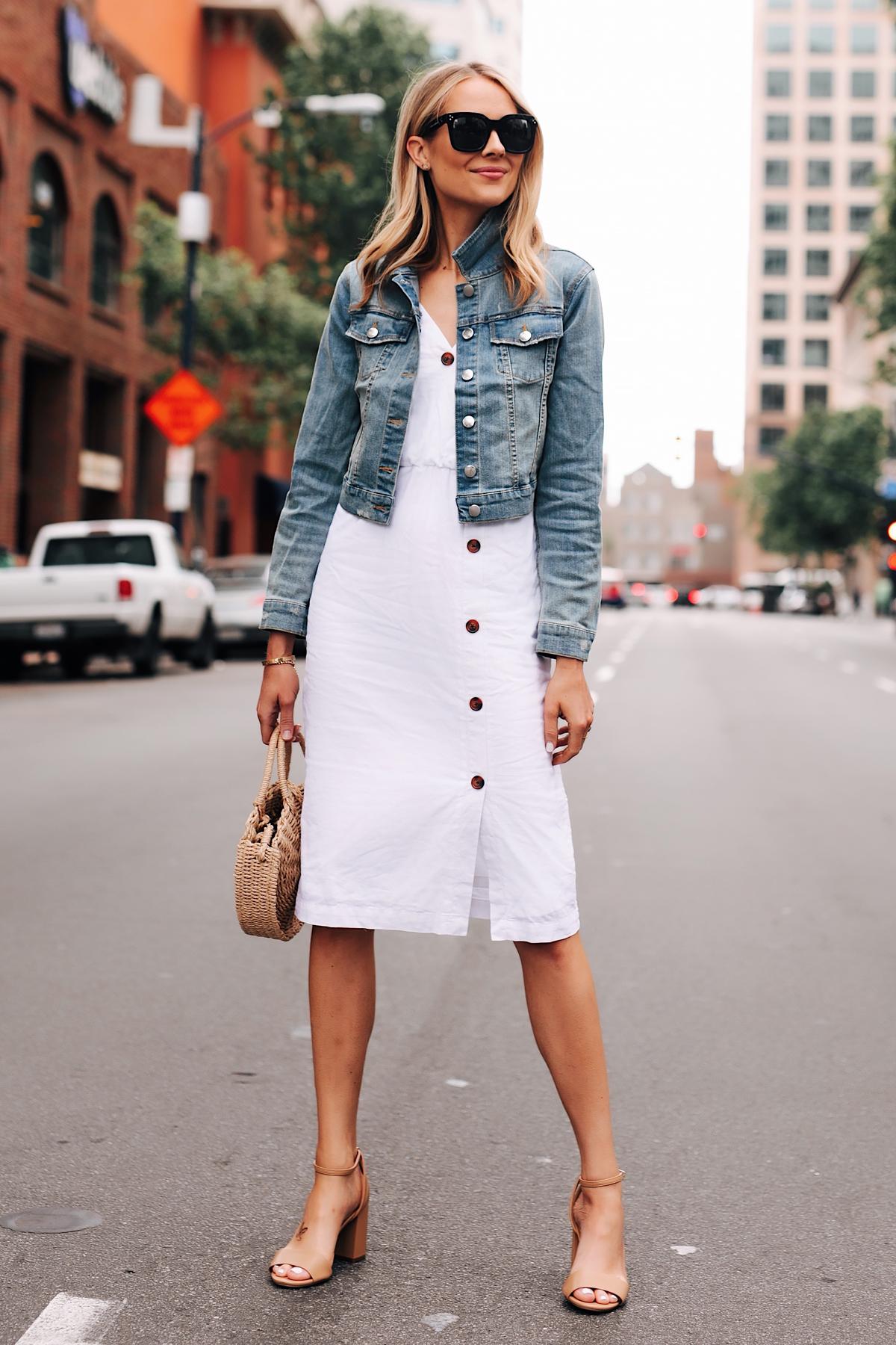 Blonde Woman Wearing Denim Jacket White Midi Dress Tan Ankle Strap Heeled Sandals Fashion Jackson San Diego Fashion Blogger Street Style