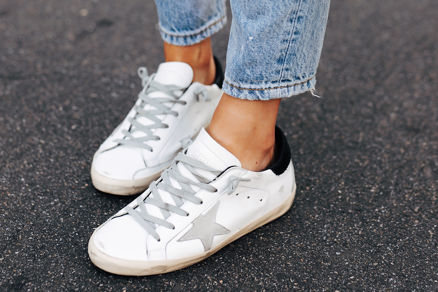 Woman Wearing Golden Goose Sneakers Fashion Jackson San Diego Fashion Blogger Street Style