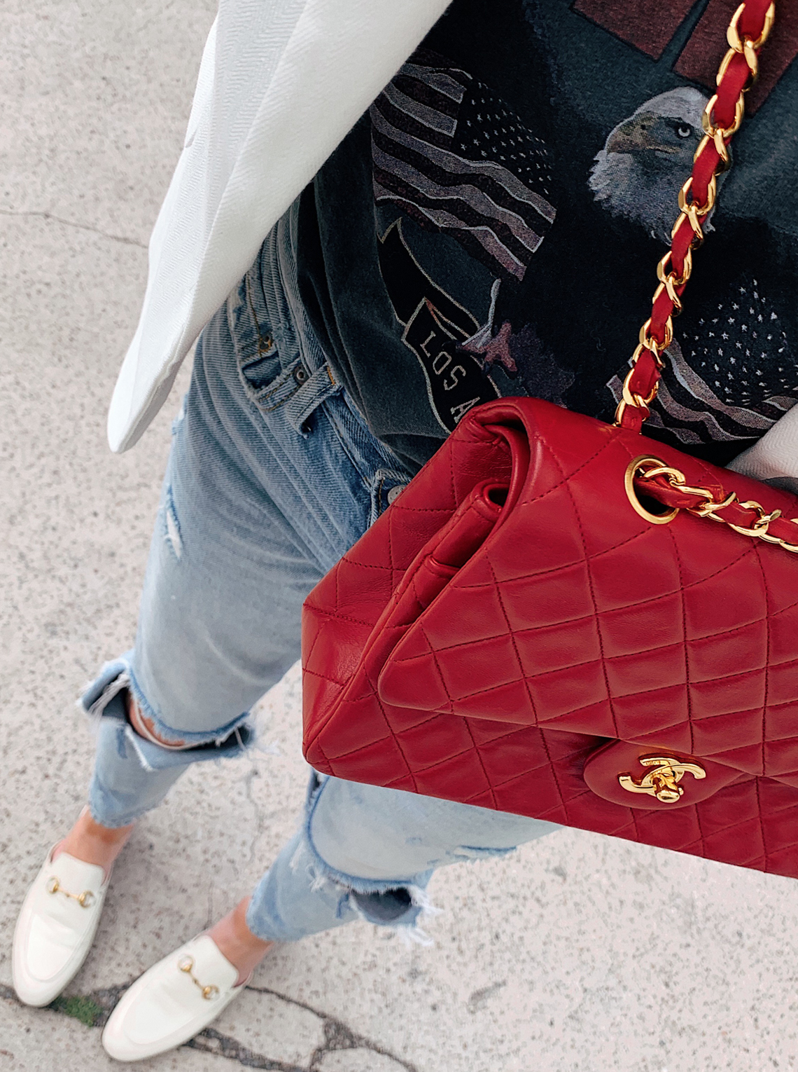 Fashion Jackson Wearing Graphic Tee White Blazer Ripped Jeans White Gucci Mules Red Chanel Handbag
