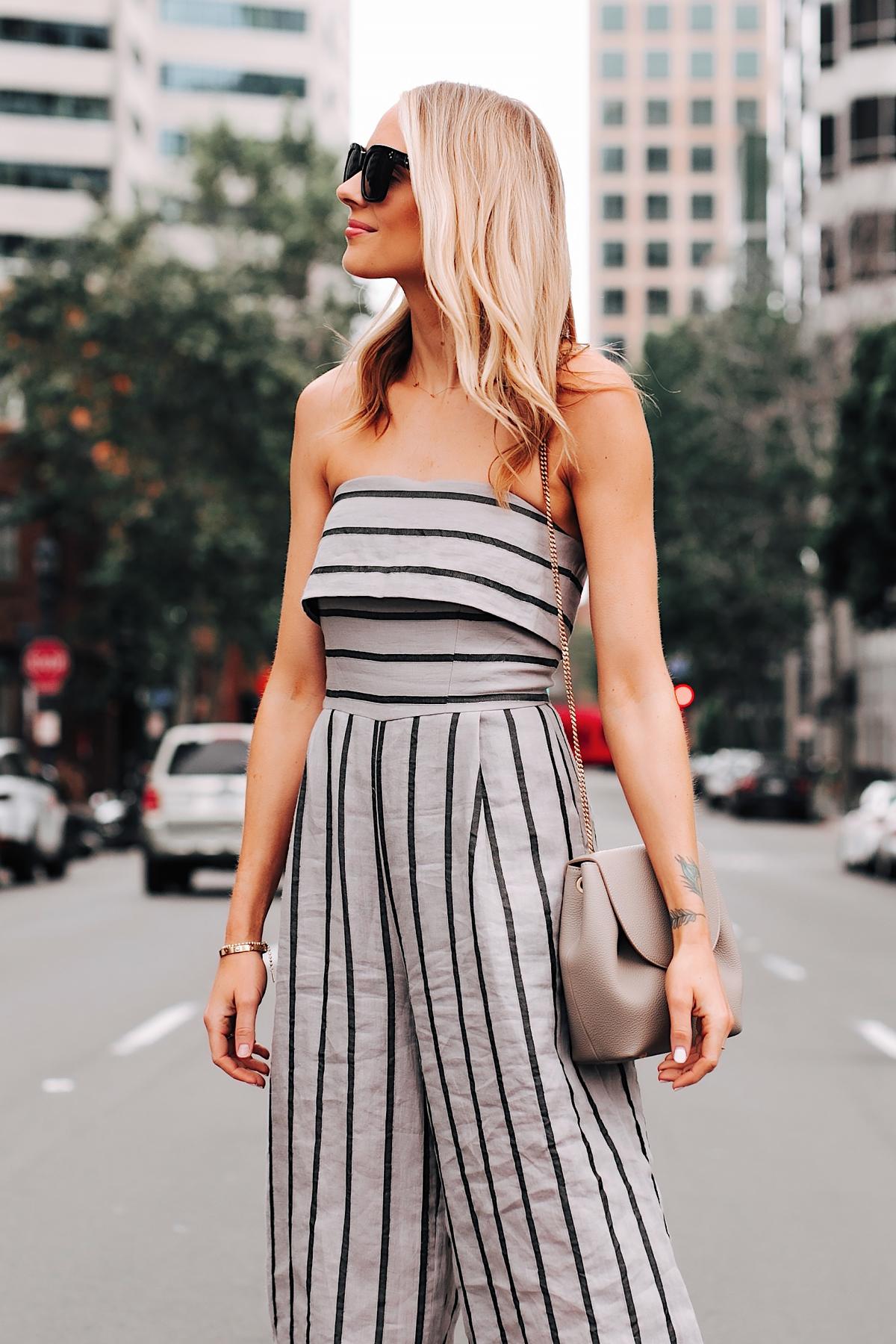 Blonde Woman Wearing Jing Grey Strapless Stripe Jumpsuit Grey Handbag Fashion Jackson San Diego Fashion Blogger Street Style