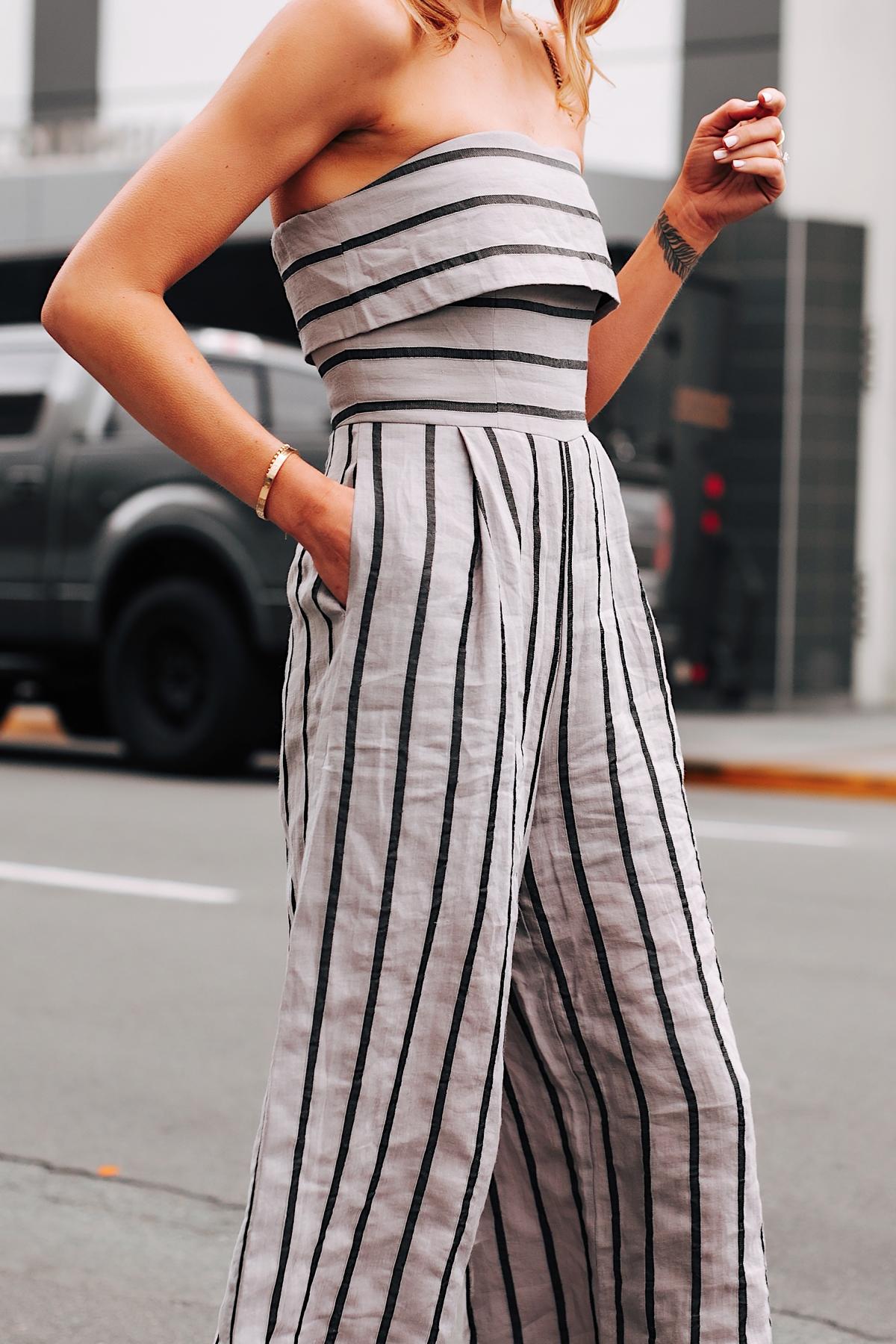 Woman Wearing Jing Grey Strapless Stripe Jumpsuit Fashion Jackson San Diego Fashion Blogger Street Style