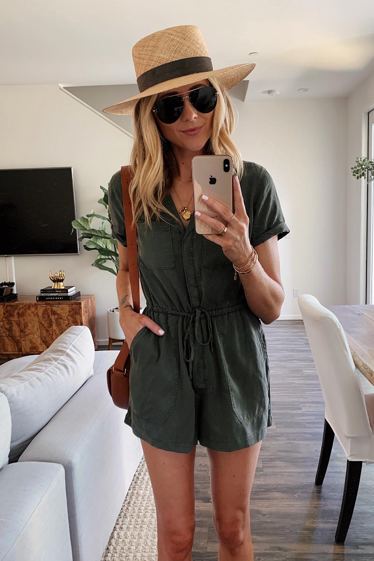 Fashion Jackson Wearing Olive Green Romper Janessa Leone Straw Hat