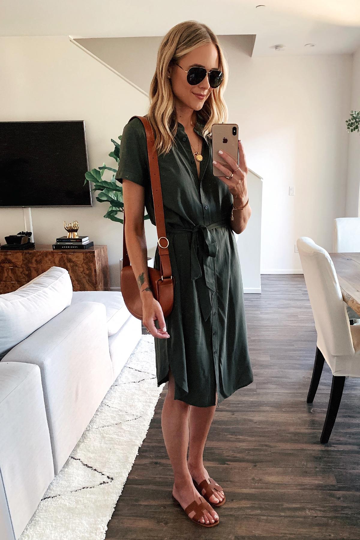 Fashion Jackson Wearing Olive Green Short Sleeve Shirt Dress Gold Hermes Sandals