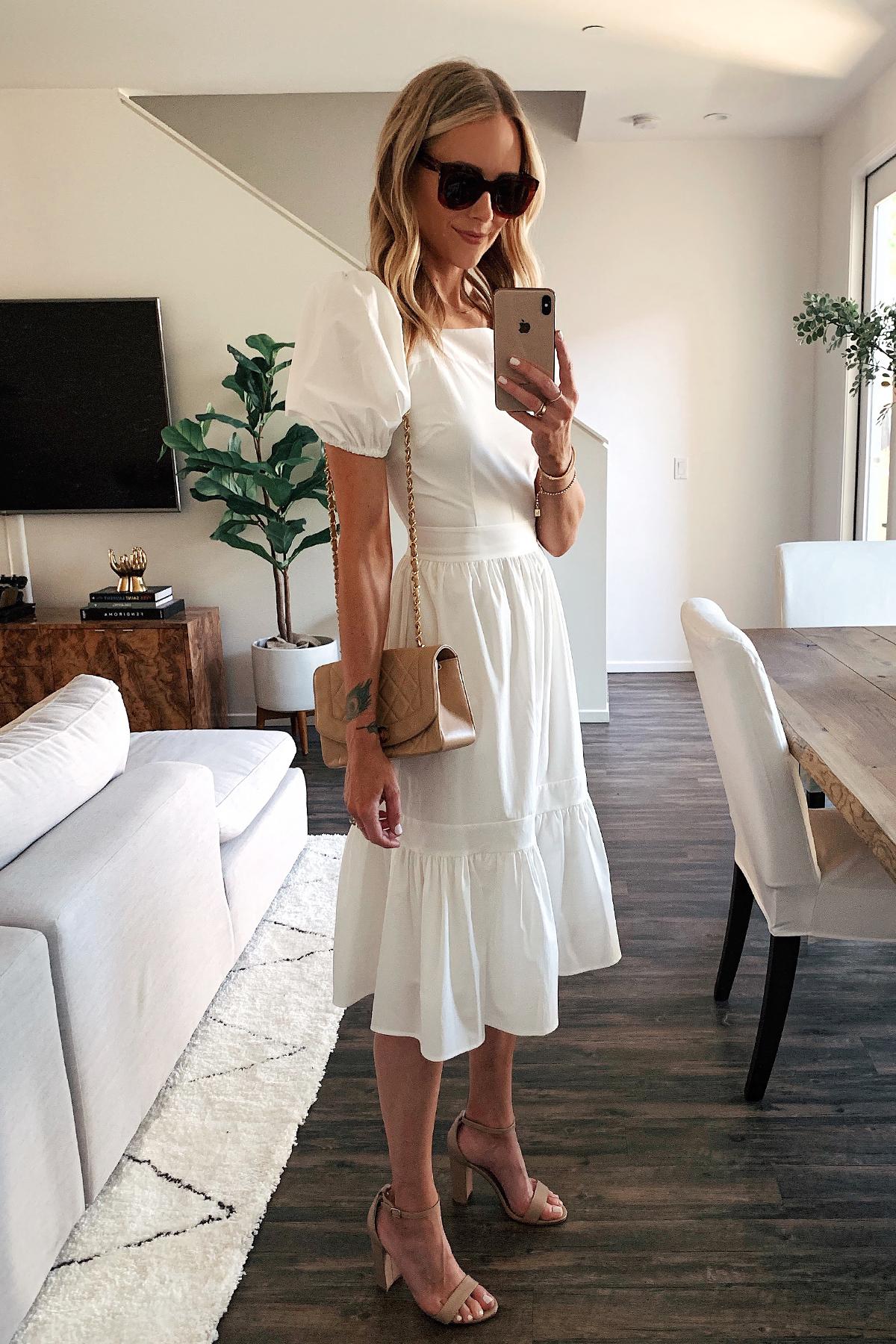 Fashion Jackson Wearing Rachel Parcell White Midi Dress Tan Chanel Handbag