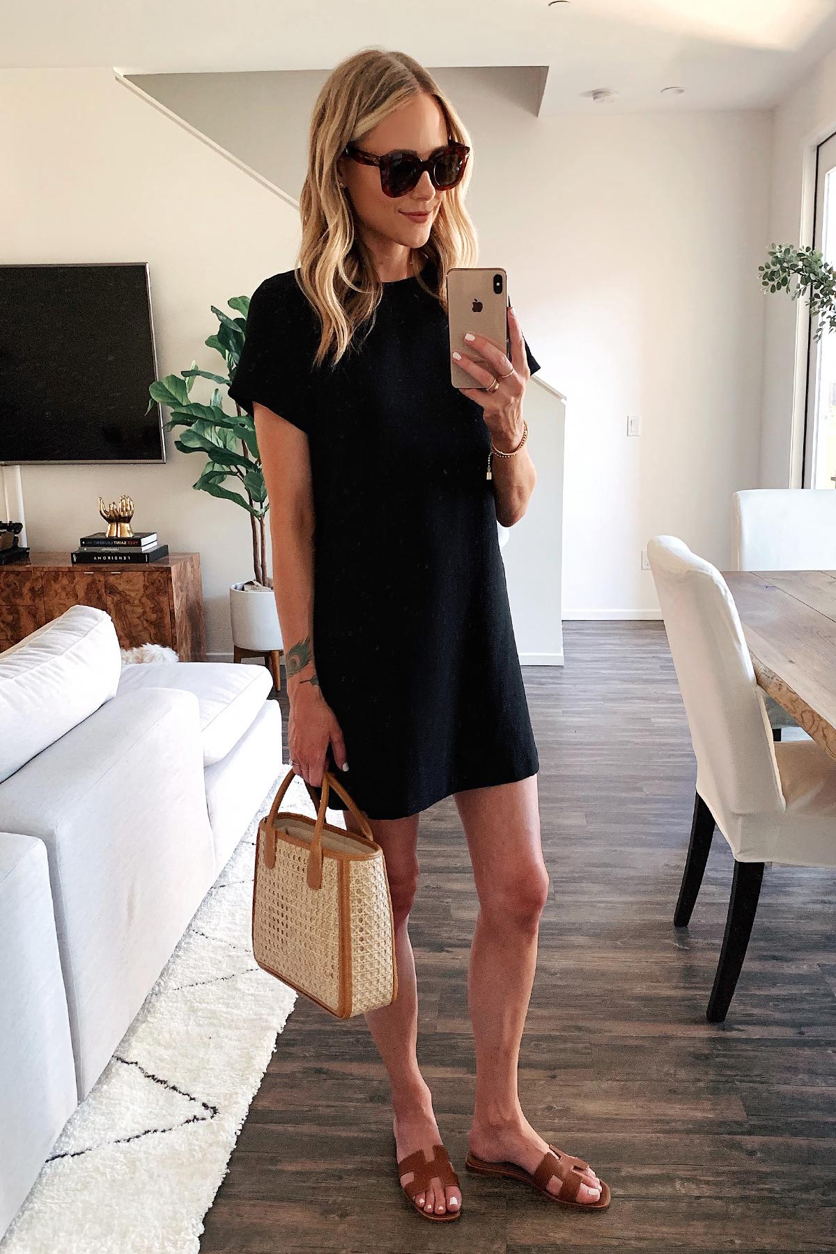 Fashion Jackson Wearing Short Sleeve Black Dress Hermes Gold Sandals