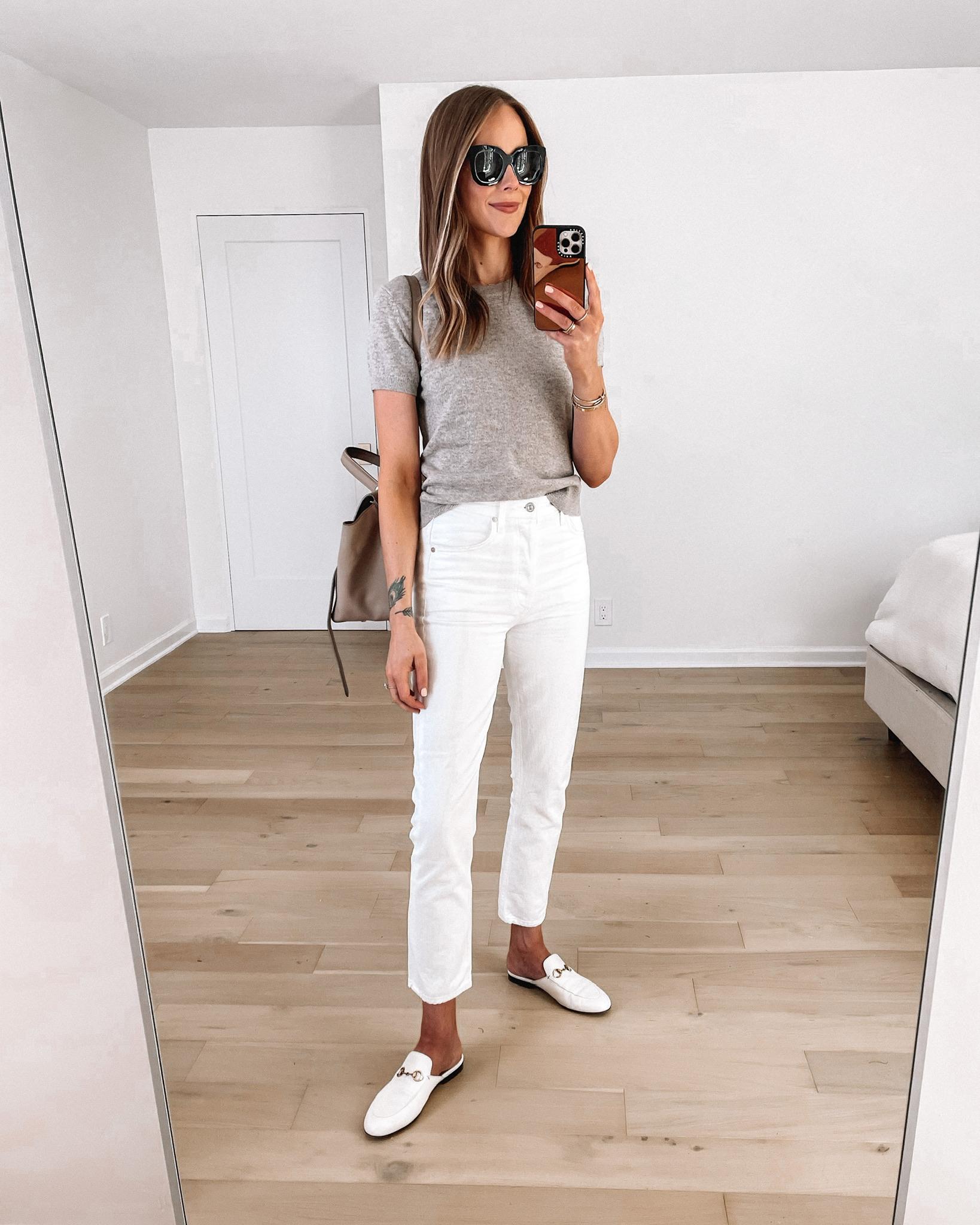 Fashion Jackson Wearing Short Sleeve Taupe Sweater Everlane White Straight Leg Jeans White Gucci Mules