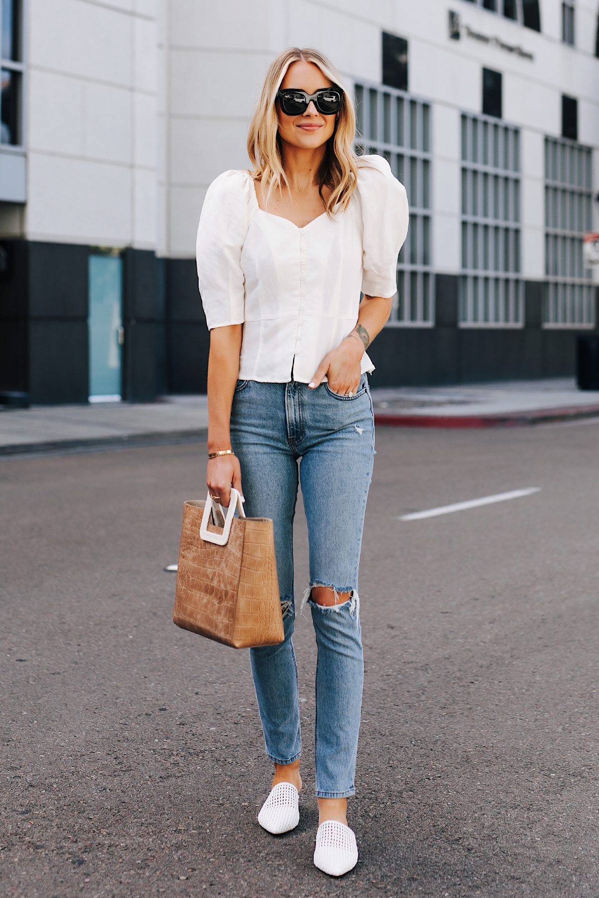 Blonde Woman Wearing Something Navy White Blouse Reformation Ripped Jeans White Mules Staud Shirley Croc Embossed Tote Fashion Jackson San Diego Fashion Blogger Street Style