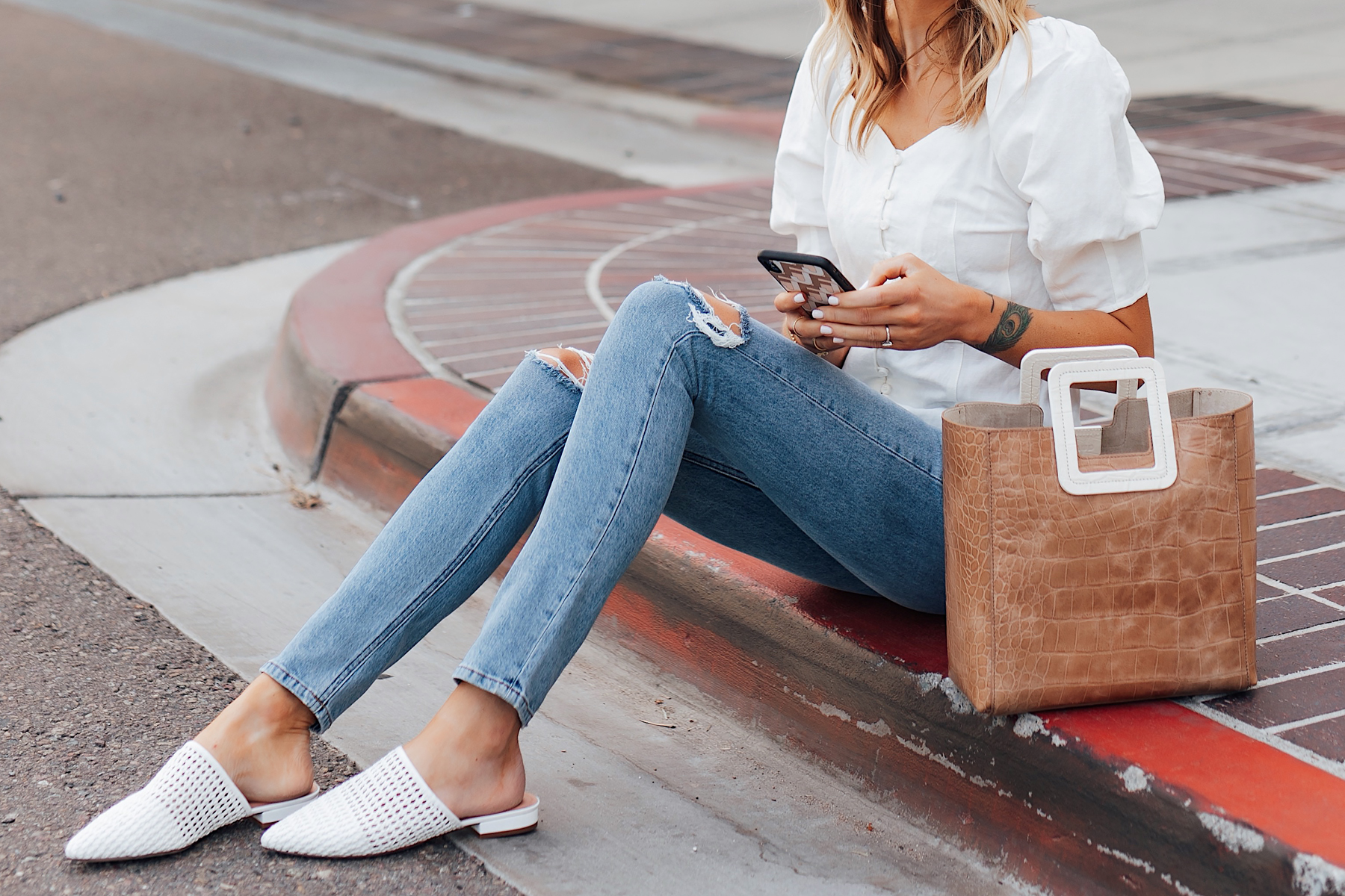 Woman Wearing Something Navy White Blouse Reformation Ripped Jeans White Mules Staud Shirley Croc Embossed Tote Fashion Jackson San Diego Fashion Blogger Street Style