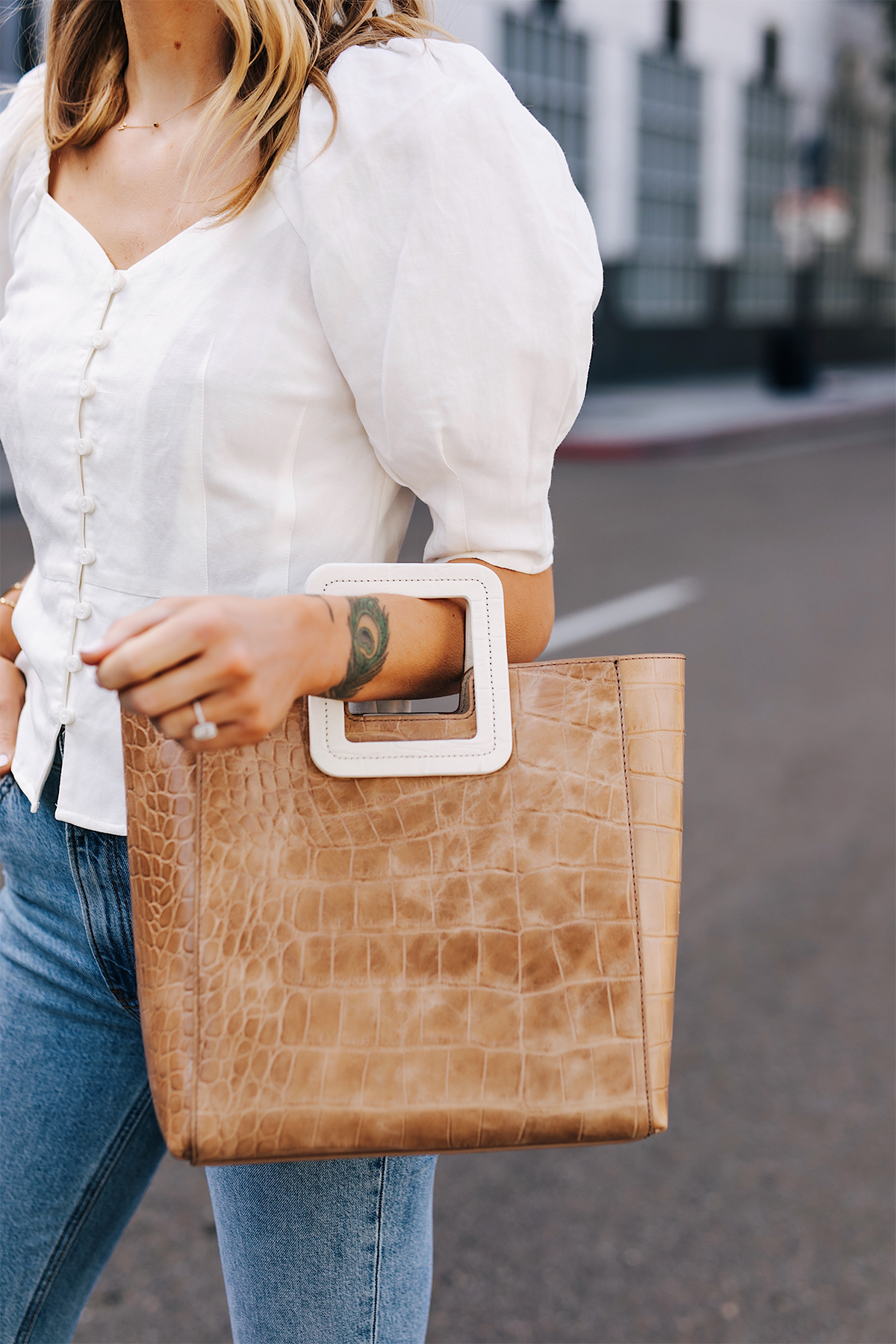 Blonde Woman Wearing Something Navy White Blouse Staud Shirley Croc Embossed Tote Fashion Jackson San Diego Fashion Blogger Street Style