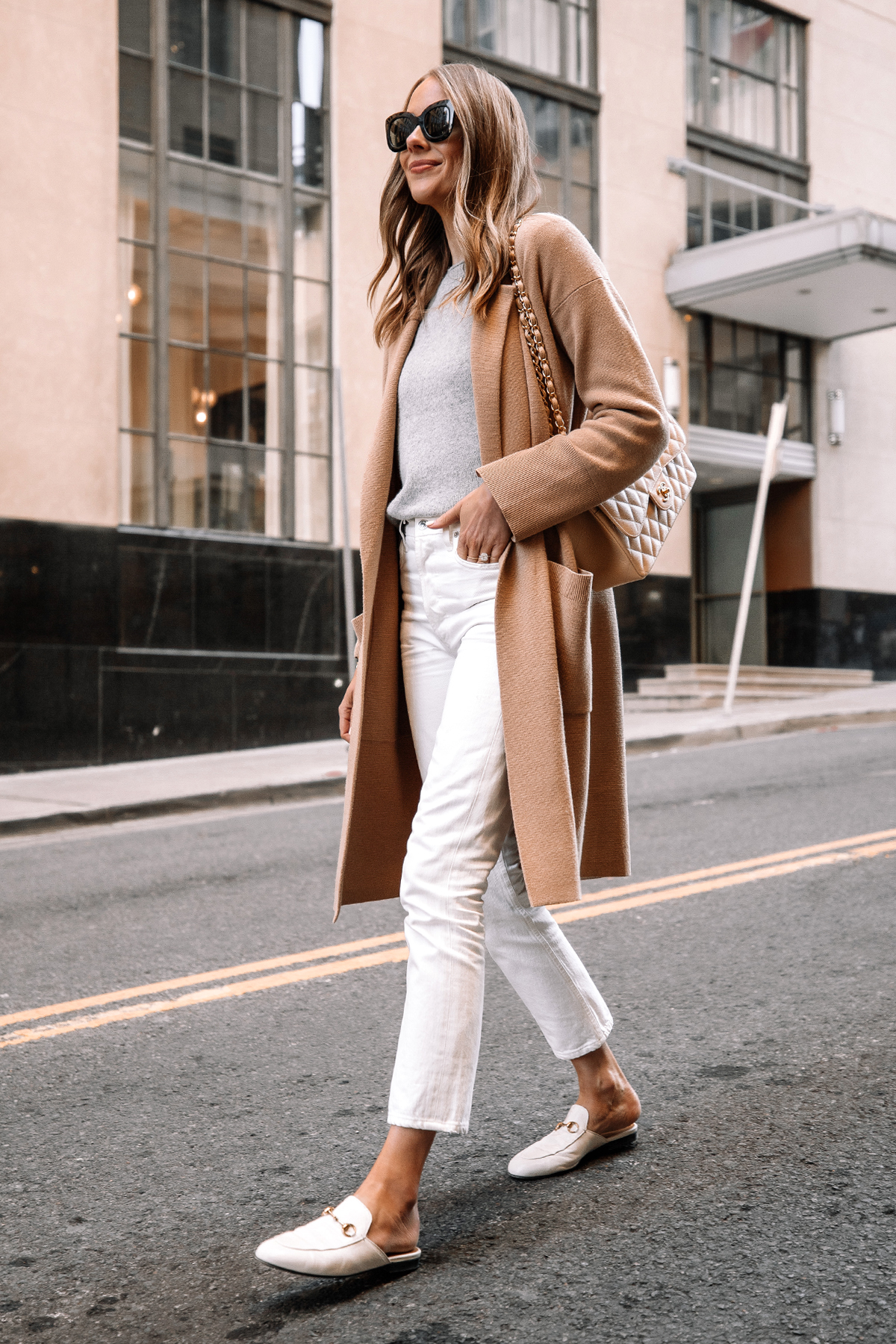 Fashion Jackson Wearing Tan Cardigan Grey Sweater White Jeans White Gucci Princetown Mules Street Style 1