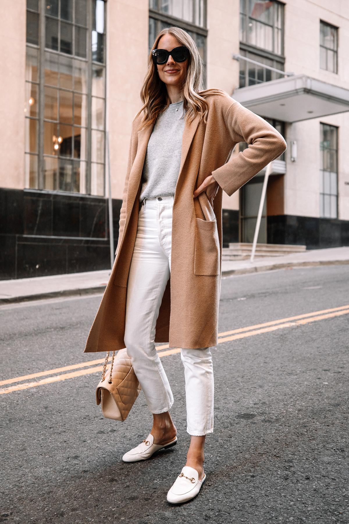 Fashion Jackson Wearing Tan Cardigan Grey Sweater White Jeans White Gucci Princetown Mules Street Style 2