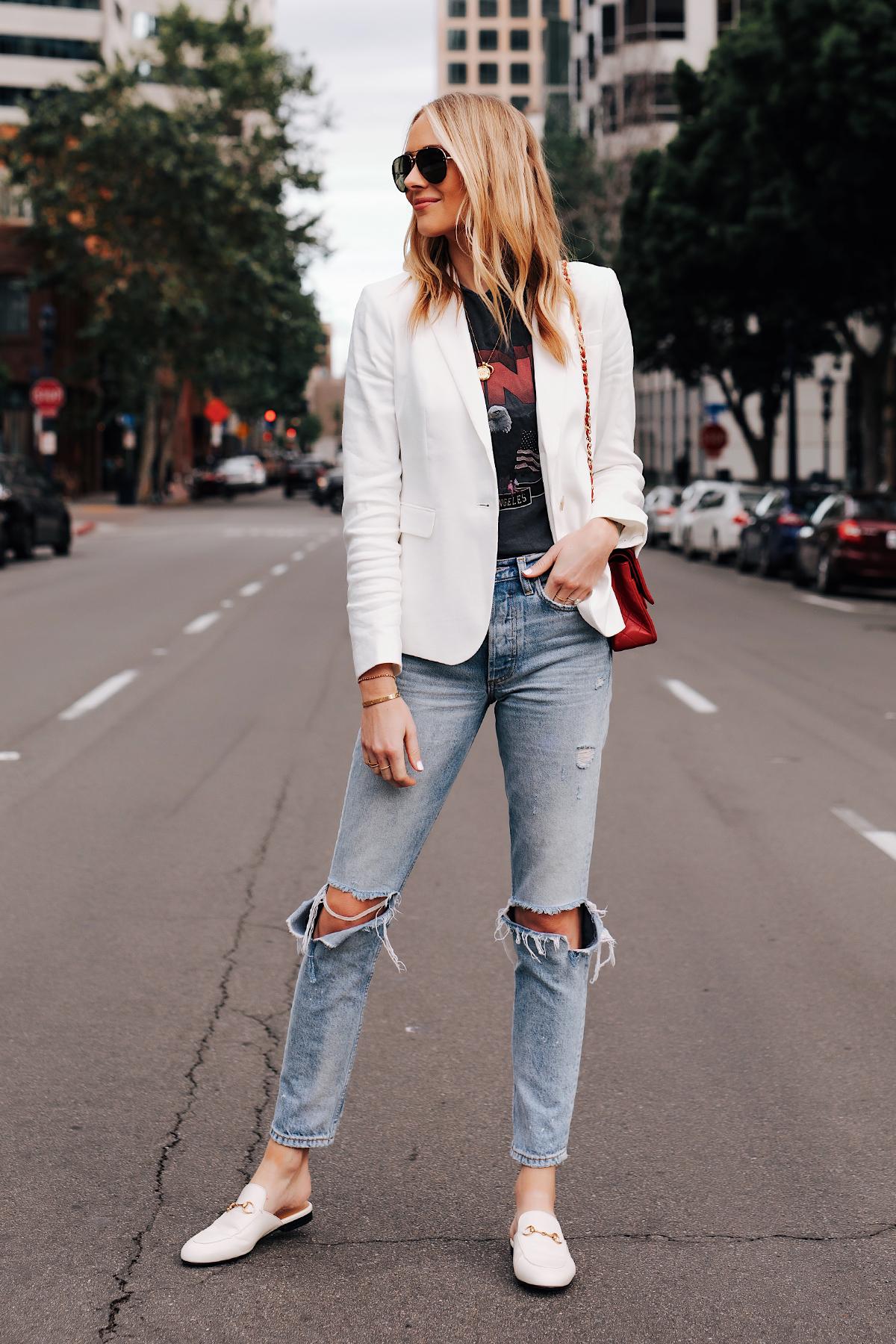 Blonde Woman Wearing White Blazer Anine Bing Graphic Tshirt Boyish Ripped Jeans Gucci Princetown White Mules Fashion Jackson San Diego Fashion Blogger Street Style