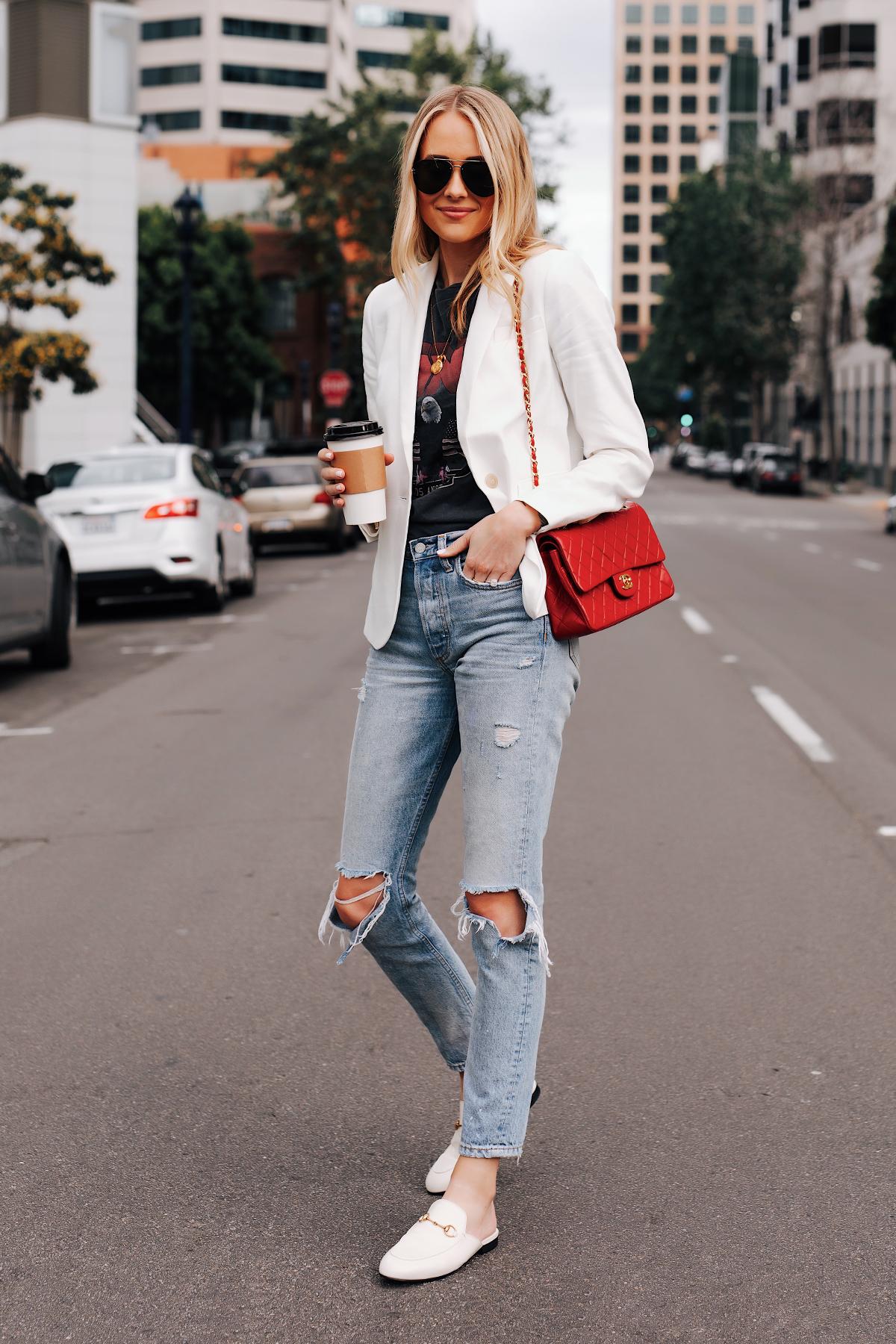 Blonde Woman Wearing White Blazer Anine Bing Graphic Tshirt Boyish Ripped Jeans Red Chanel Handbag Gucci Princetown White Mules Fashion Jackson San Diego Fashion Blogger Street Style