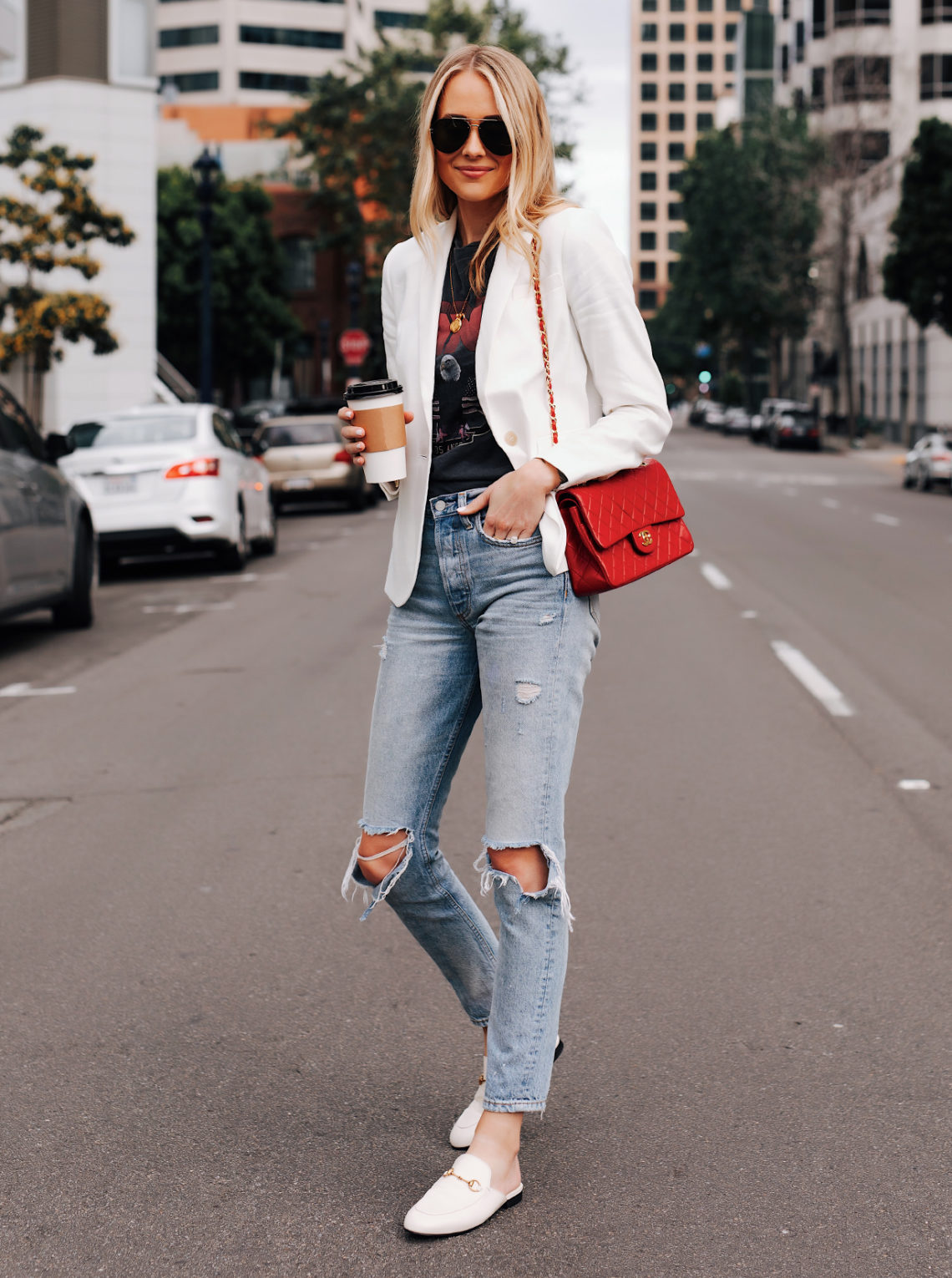 Blonde Woman Wearing White Blazer Anine Bing Graphic Tshirt Boyish Ripped Jeans Red Chanel Handbag Gucci Princetown White Mules Feature Image Fashion Jackson San Diego Fashion Blogger Street Style