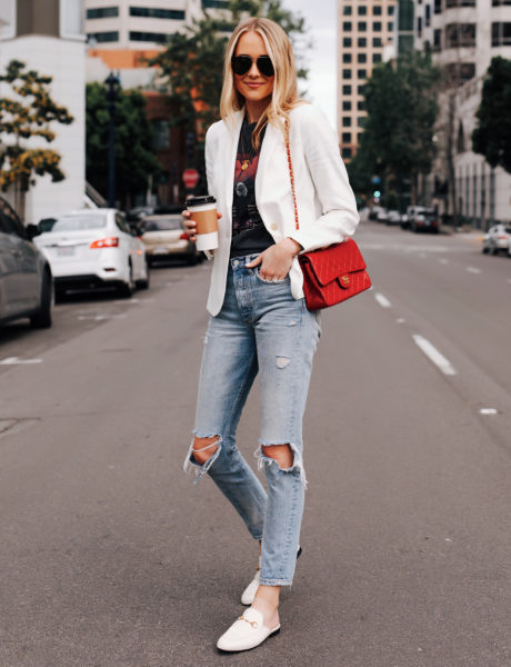 A Stylish Way to Wear White Gucci Princetown Mules