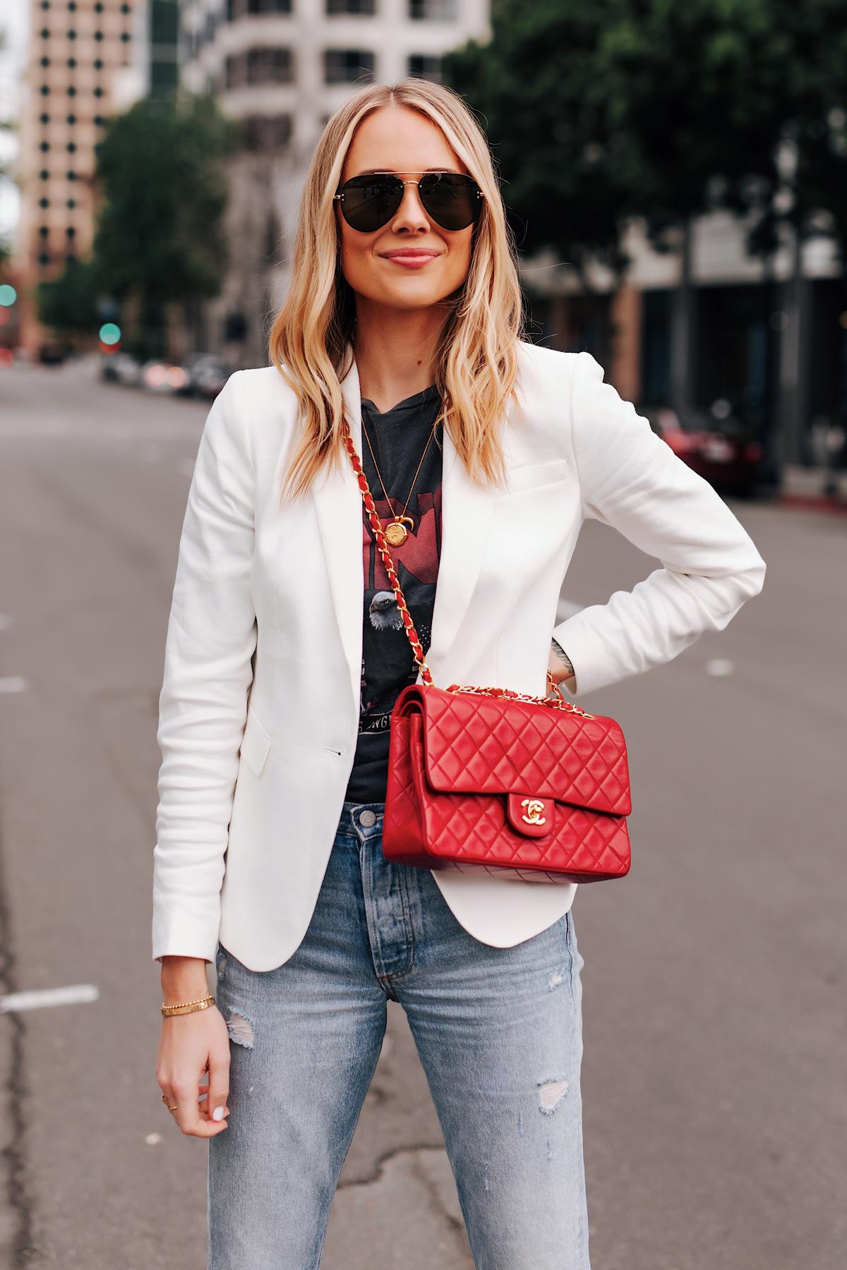 Blonde Woman Wearing White Blazer Anine Bing Graphic Tshirt Ripped Jeans Red Chanel Handbag Aviator Sunglasses Fashion Jackson San Diego Fashion Blogger Street Style
