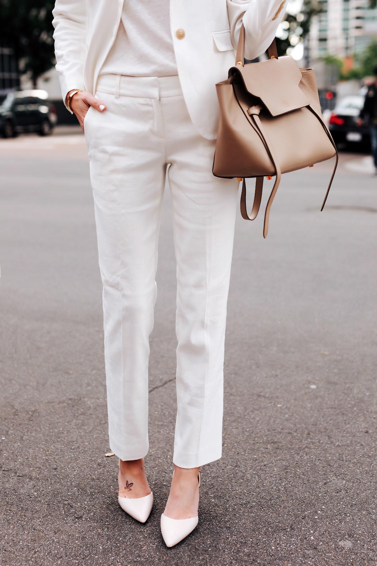 Fashion Jackson Wearing White Blazer Ann Taylor White Work Pants White Pumps Celine Mini Belt Bag