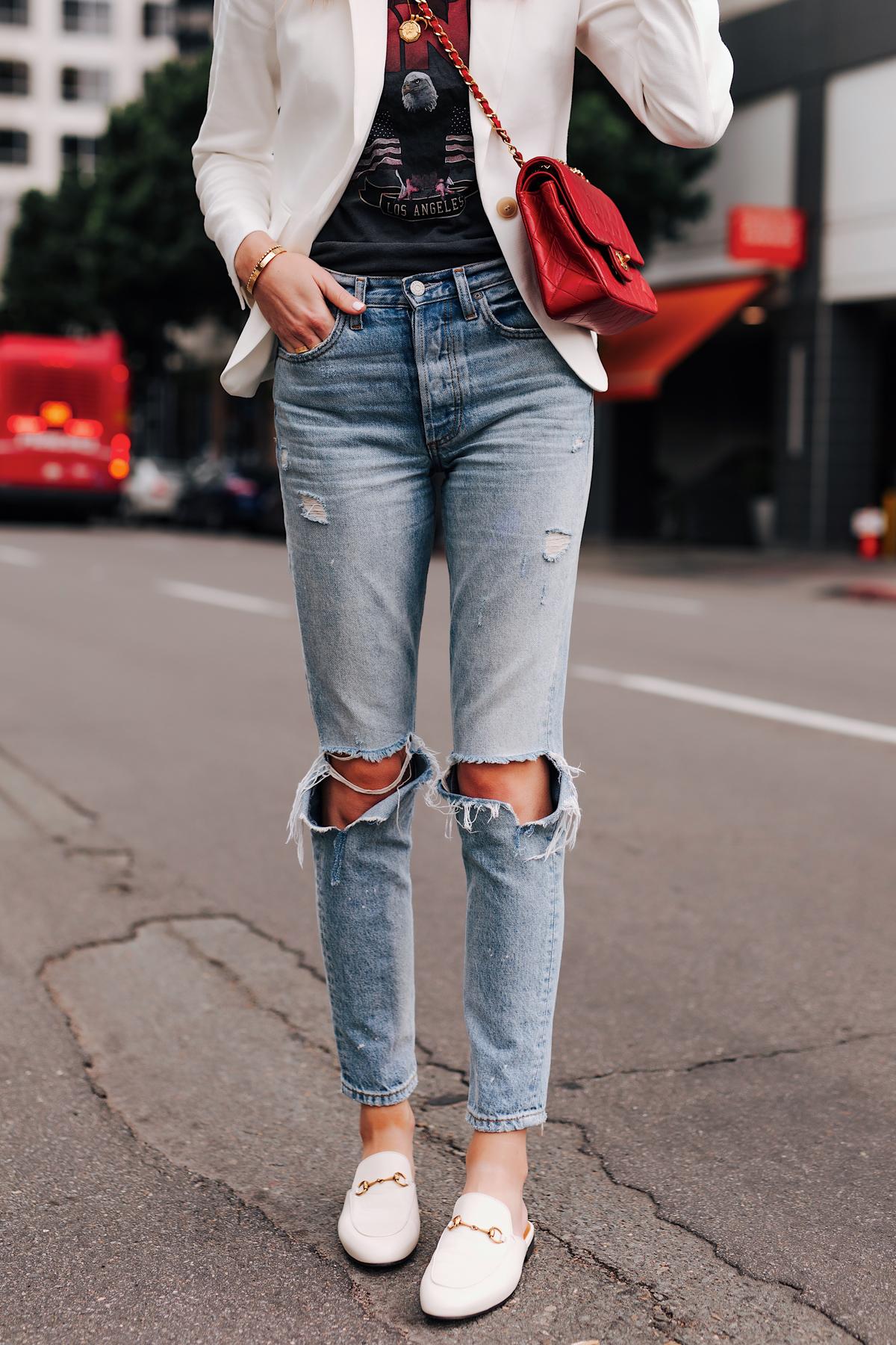 Woman Wearing White Blazer Graphic Tshirt Boyish Ripped Jeans Red Chanel Handbag Gucci Princetown White Mules Fashion Jackson San Diego Fashion Blogger Street Style