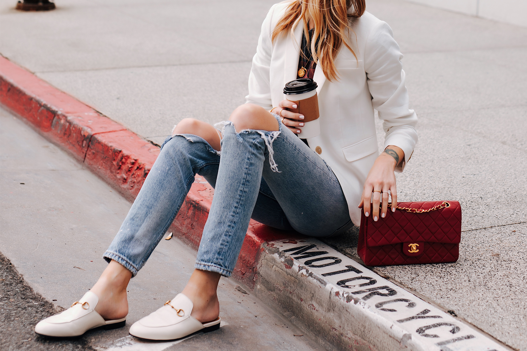 Blonde Woman Wearing White Blazer Ripped Jeans Gucci Princetown White Mules Red Chanel Handbag Fashion Jackson San Diego Fashion Blogger Street Style