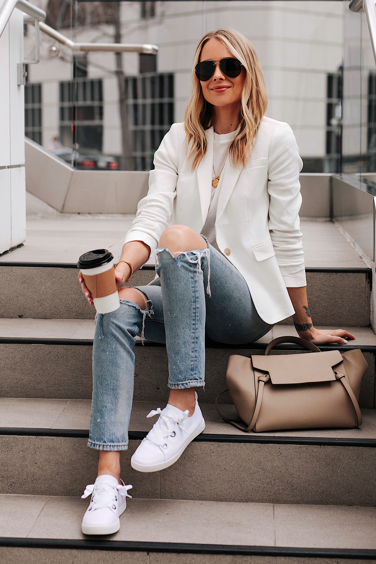 Fashion Jackson Wearing White Blazer White Tshirt Ripped Jeans Koolaburra White Sneakers