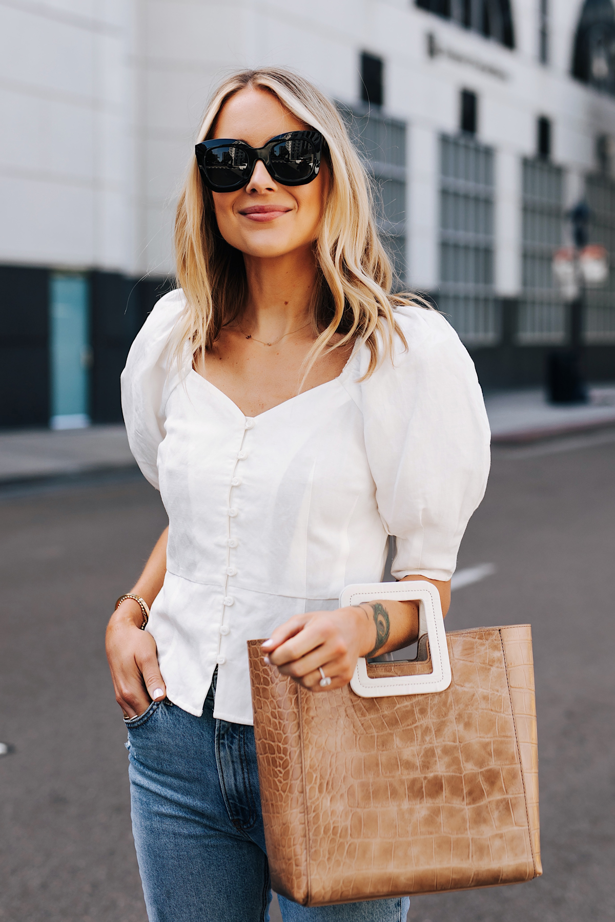 Blonde Woman Wearing White Blouse Jeans Staud Shirley Croc Embossed Tote Fashion Jackson San Diego Fashion Blogger Street Style