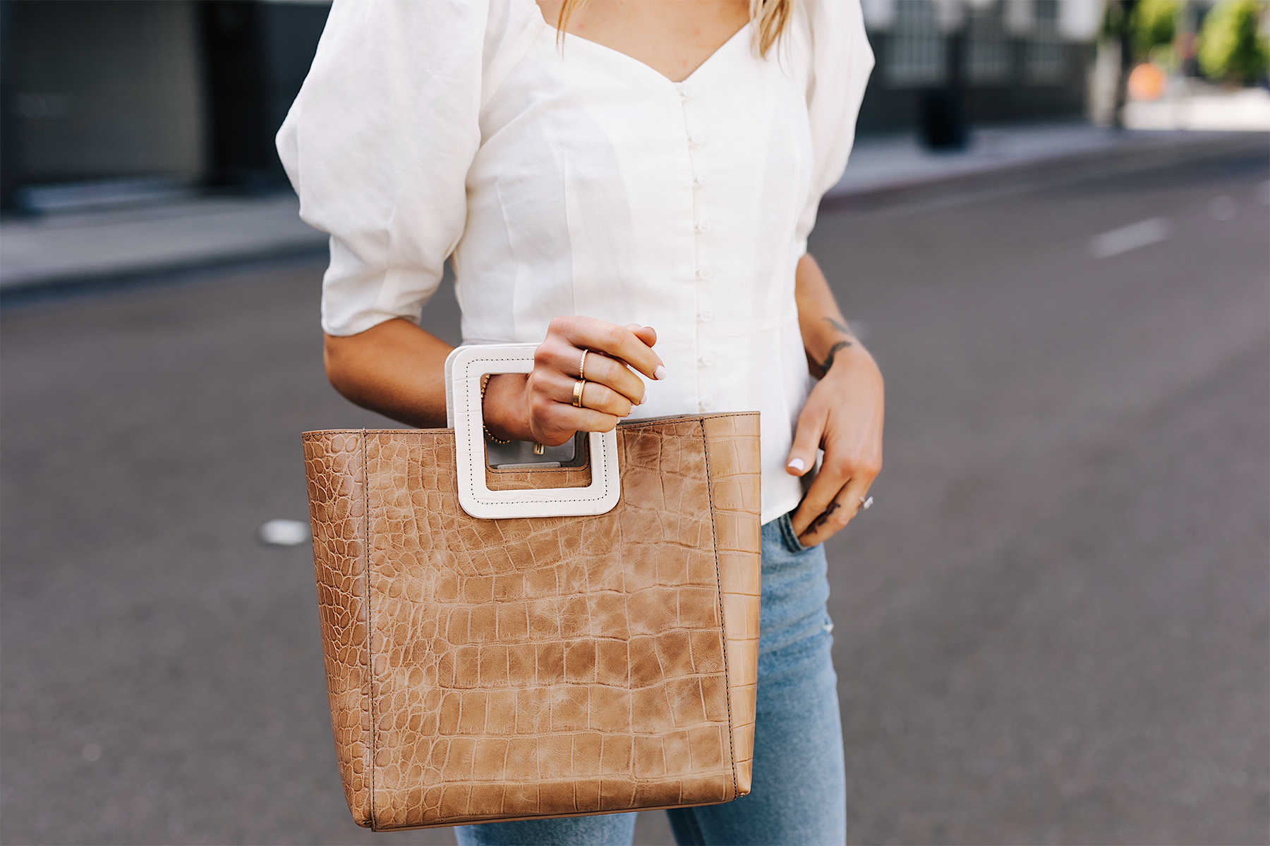 Woman Wearing White Blouse Staud Shirley Croc Embossed Tote Fashion Jackson San Diego Fashion Blogger Street Style